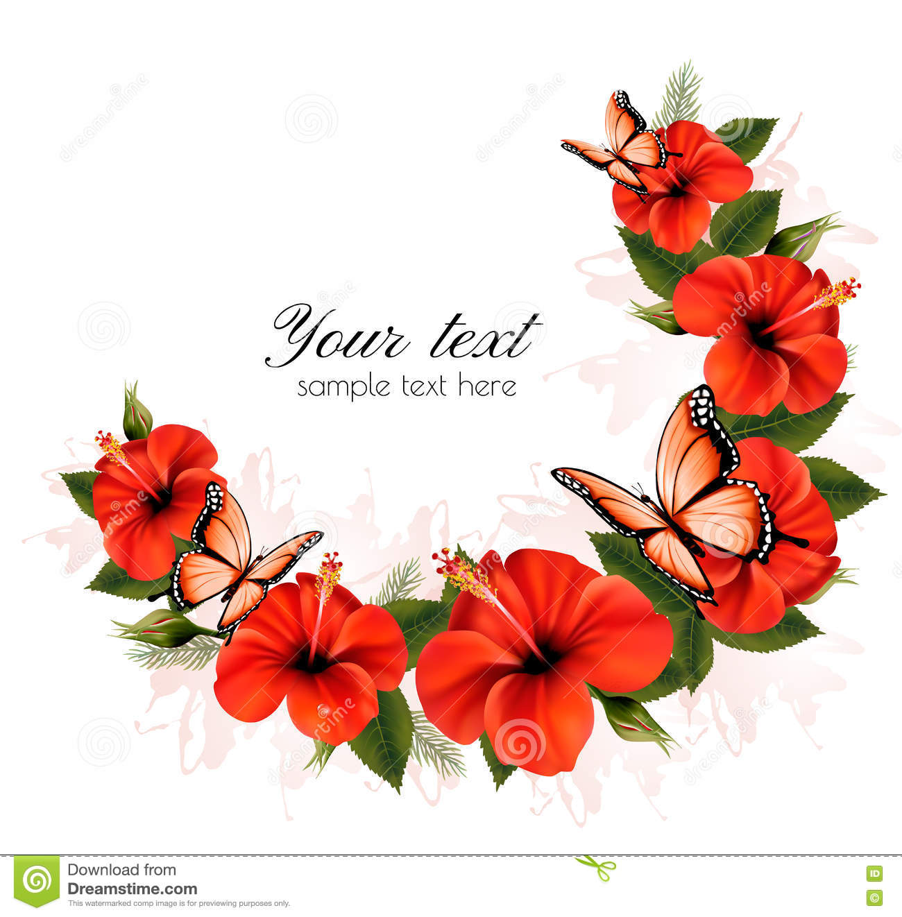 holiday background with red beauty flowers and butterflies. stock, Beautiful flower