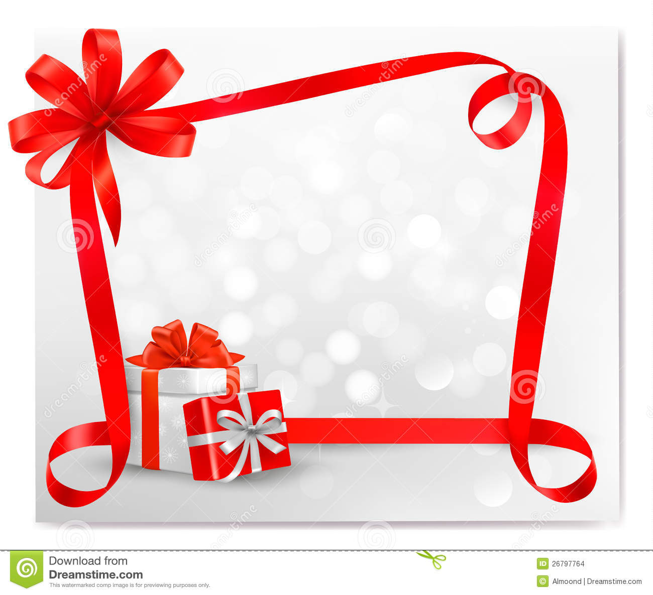 Holiday Background With Red Gift Bow With Gift Box Stock