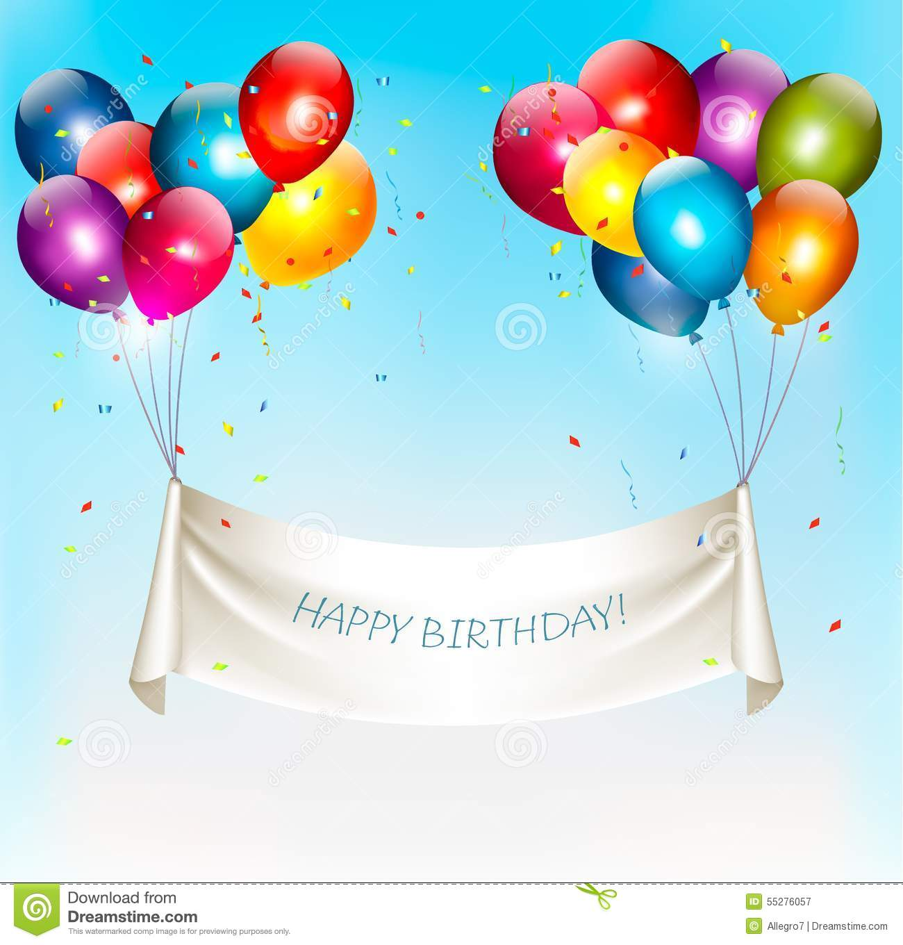 Holiday Birthday Banner With Colorful Balloons Stock