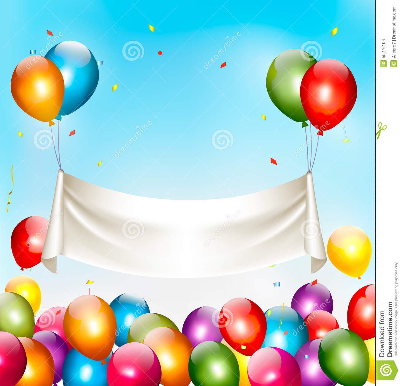 Holiday Birthday Banner With Colorful Balloons And