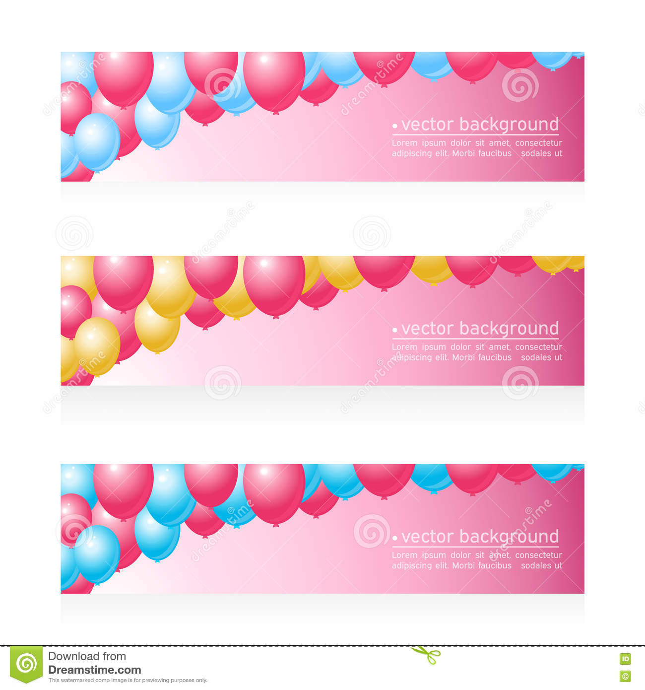 Holiday Birthday Banners With Balloons Stock Vector