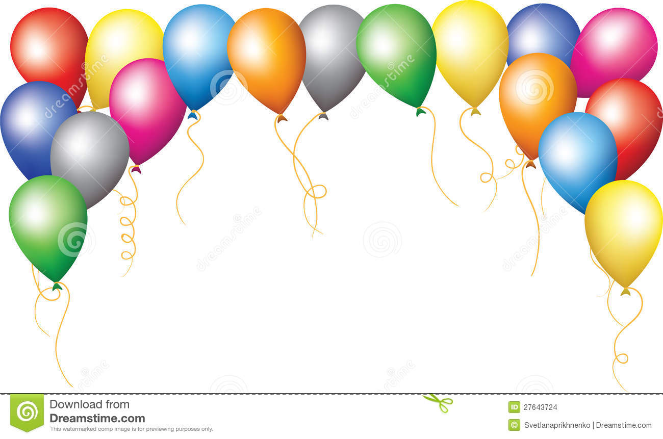Holiday Border Of Colourfull Balloons Stock Images - Image ...