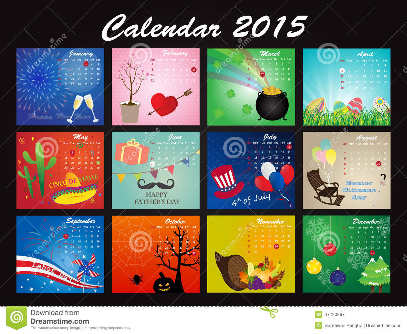 Calendar Design Pictures : Holiday calendar of stock vector illustration