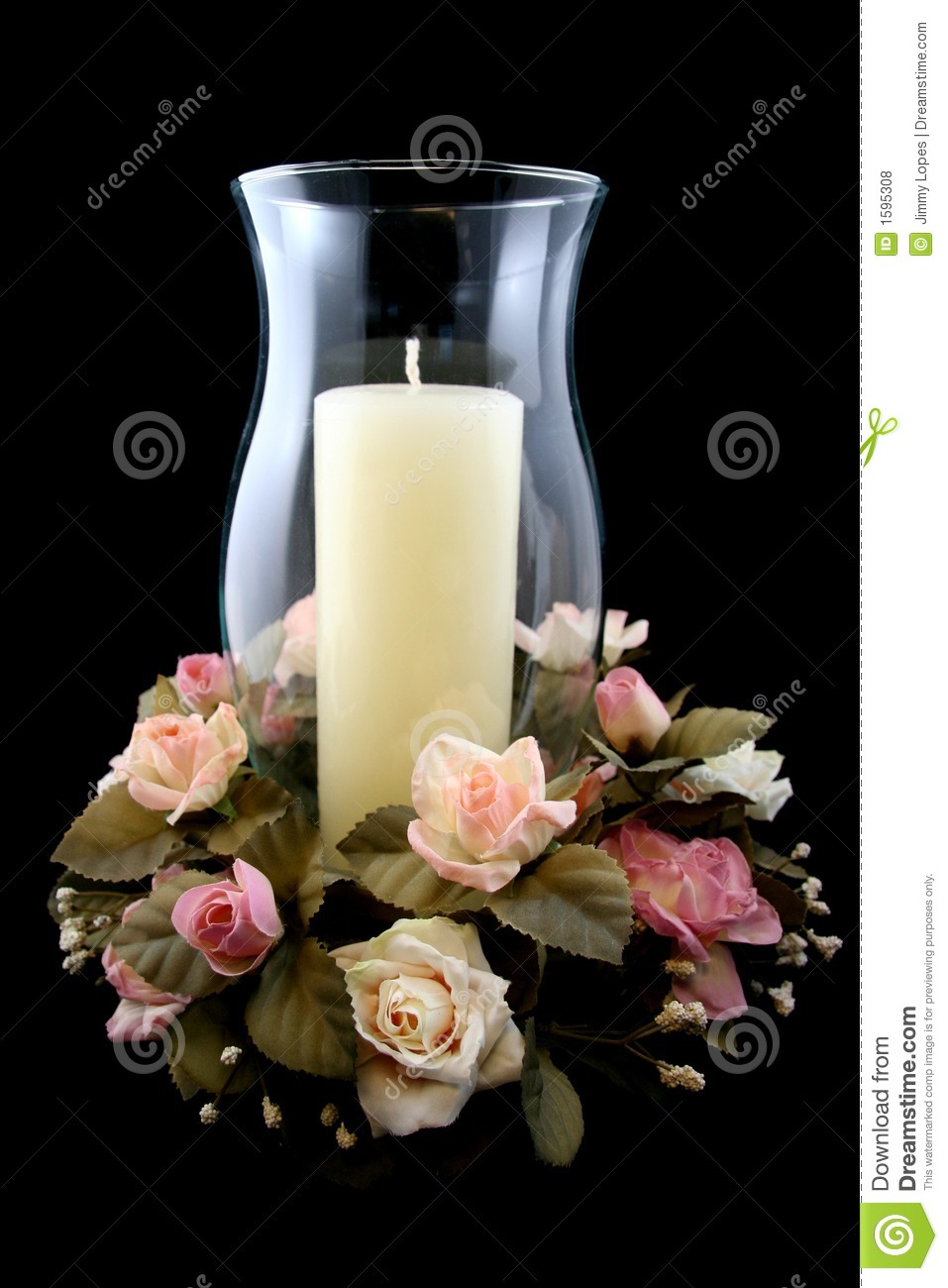 Holiday candle and flower centerpiece stock photo image
