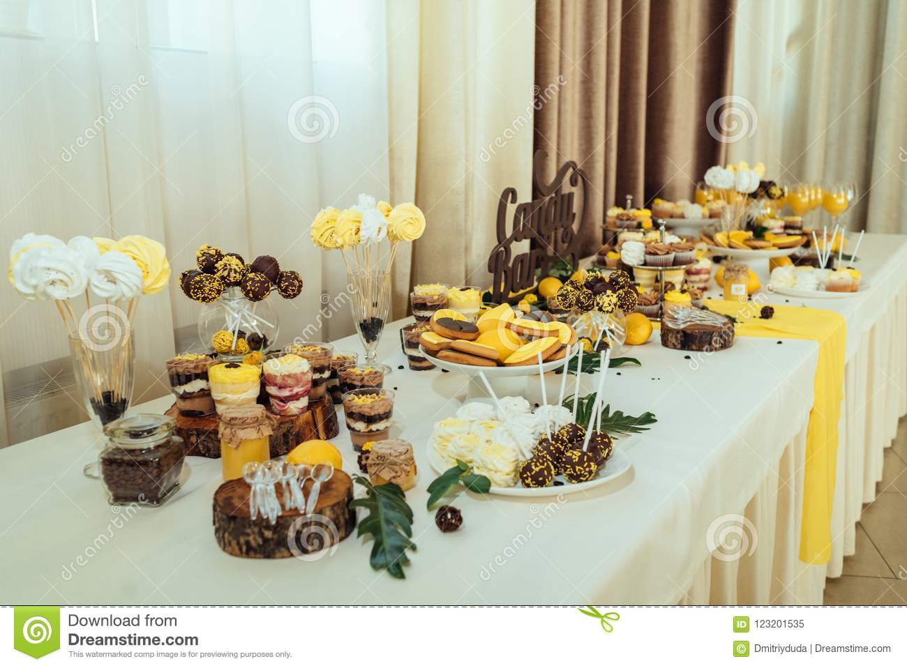 Holiday Candy Bar In Yellow And Brown Color Wedding Candy Bar