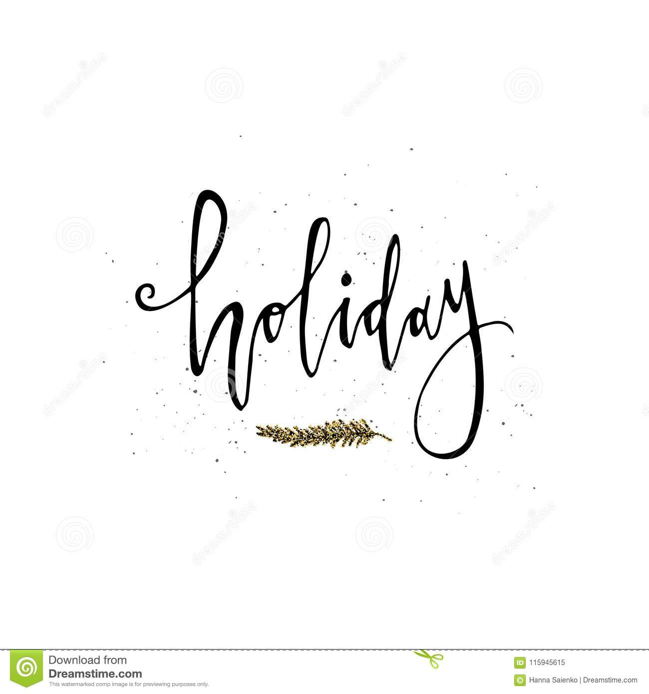 Holiday Card. Calligraphy Phrase With Gold Glitter Christmas Branch ...