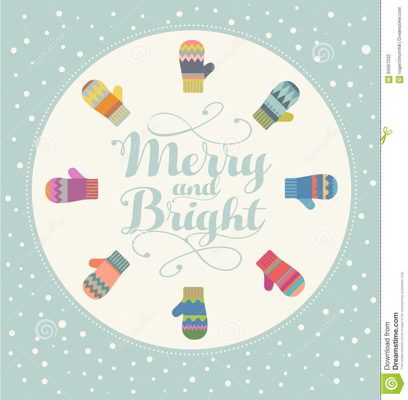 Holiday Card Design With Colorful Mittens Merry And Bright Stock ...