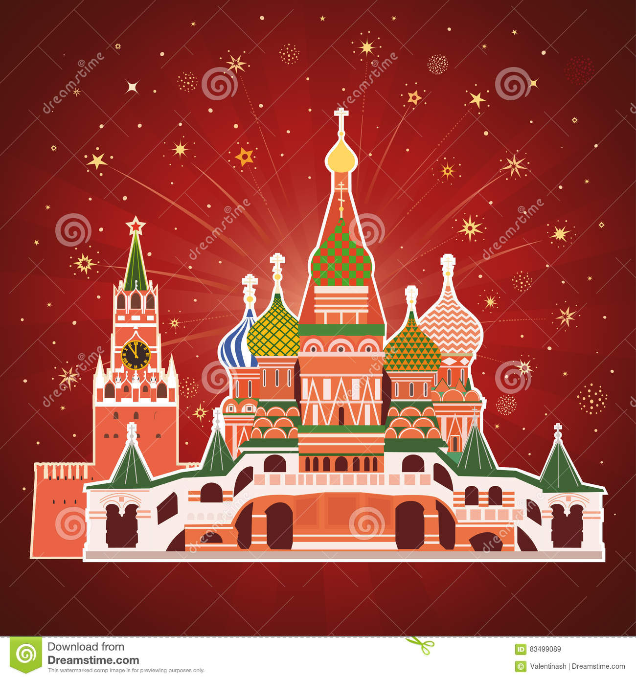 Holiday Card With Historic Buildings Of Moscow Stock Vector