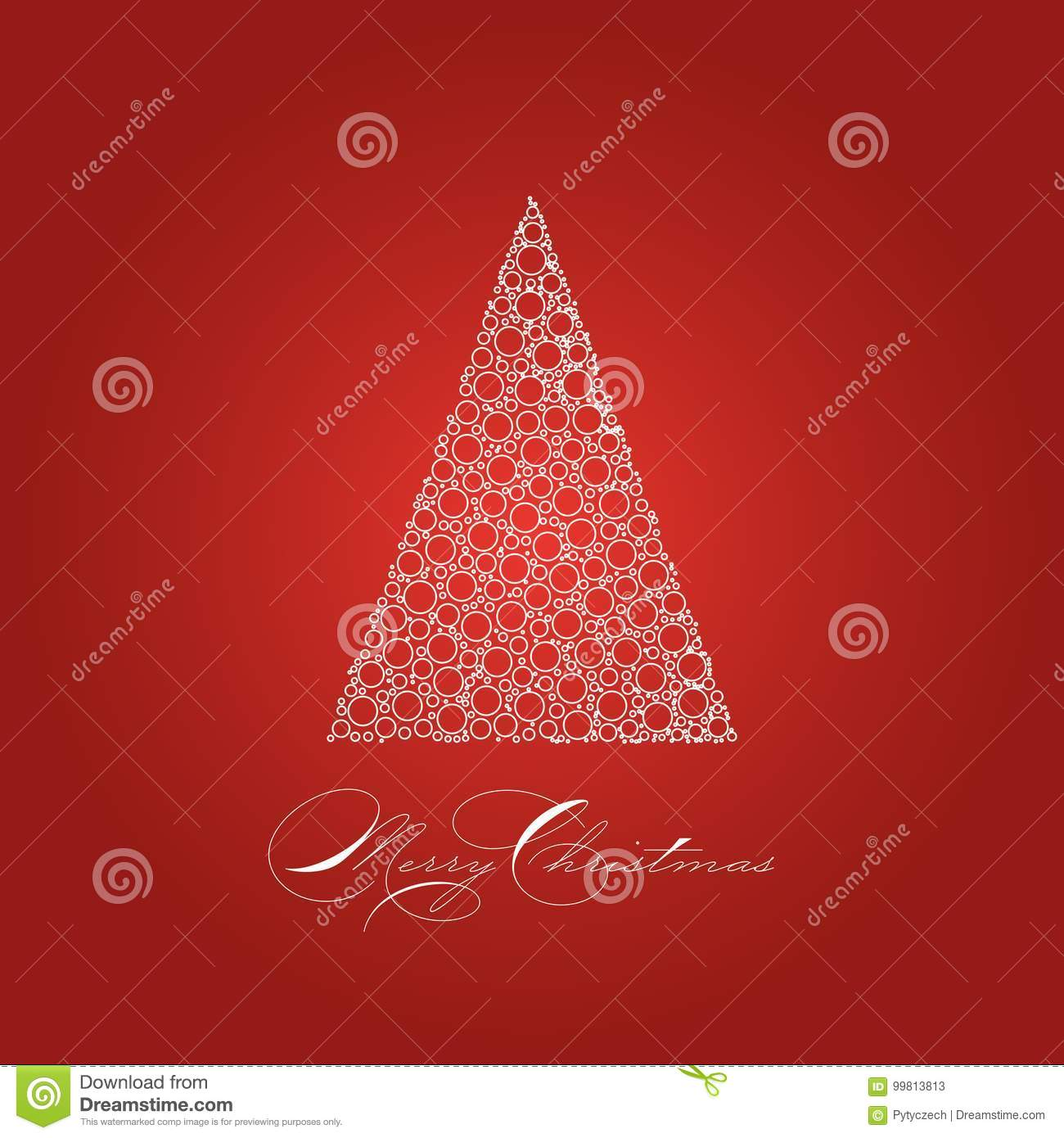 Holiday Card With White Christmas Tree On Red Background Stock Vector Illustration Of Holiday Greeting 99813813