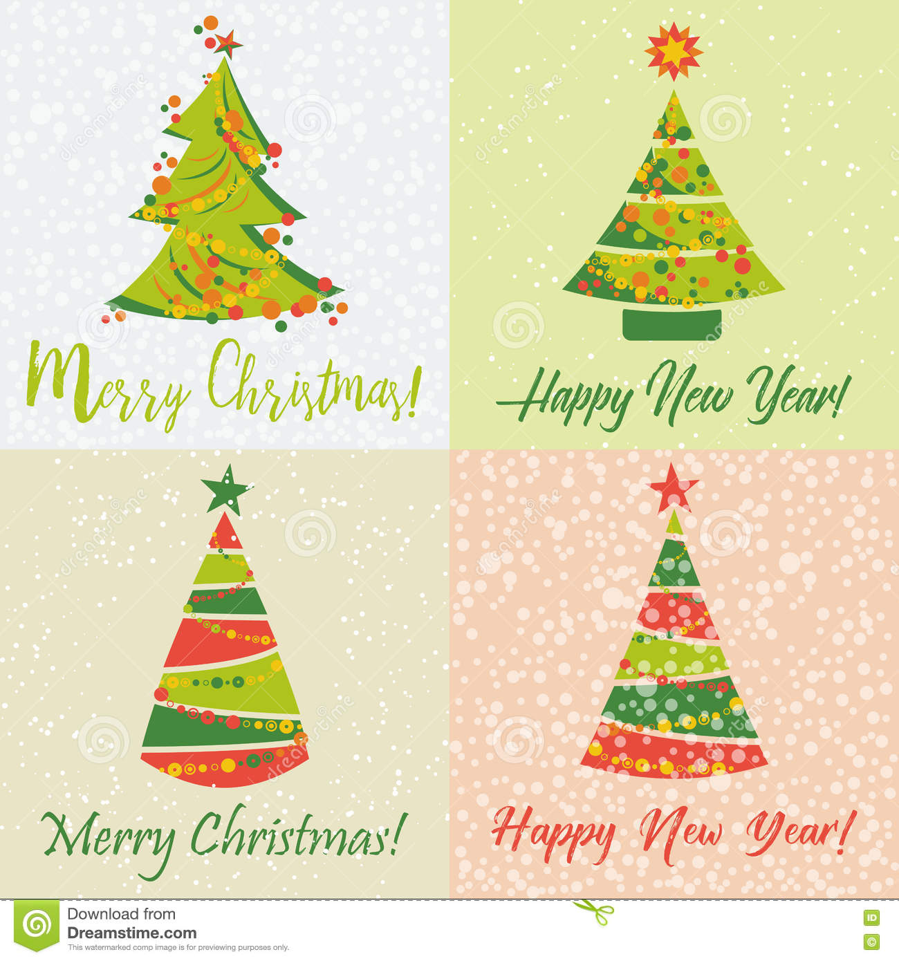 Holiday Cards For New Year And Christmas Stock Illustration