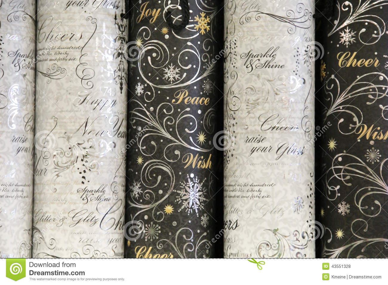 holiday cheer wrapping paper rolls stock photo image 43551328. Black Bedroom Furniture Sets. Home Design Ideas