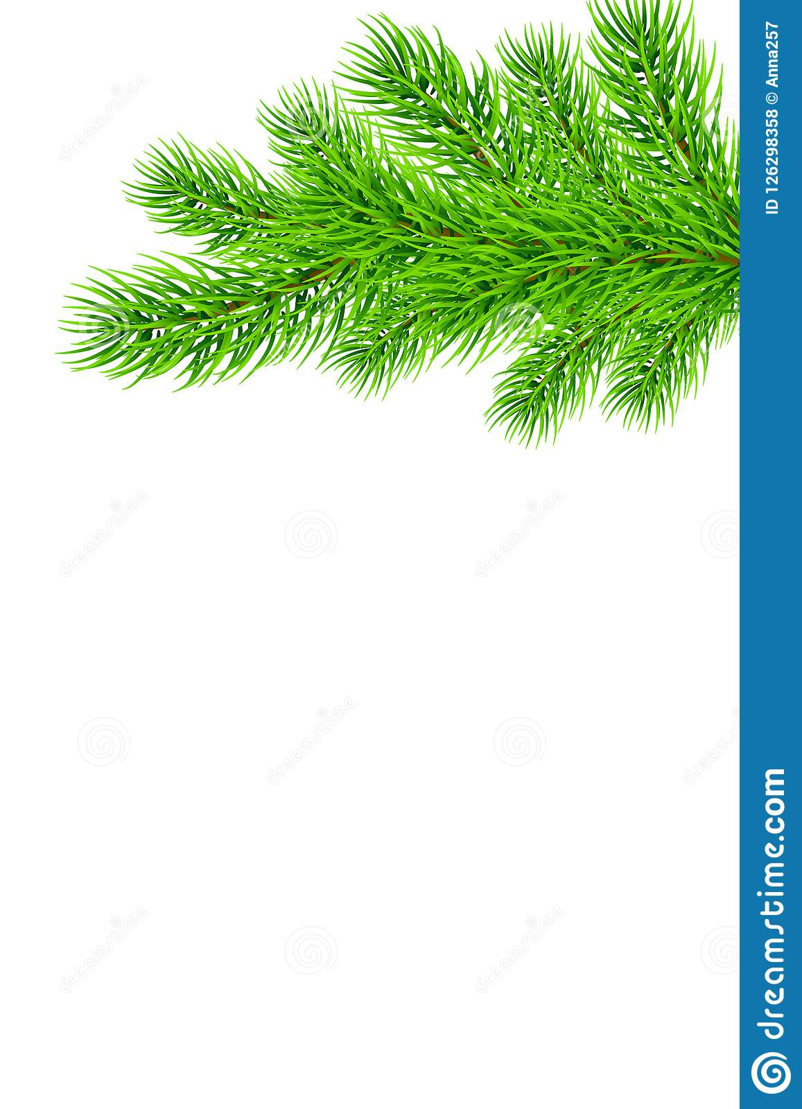 Holiday Christmas Frame With Fir Tree Branches Template For A