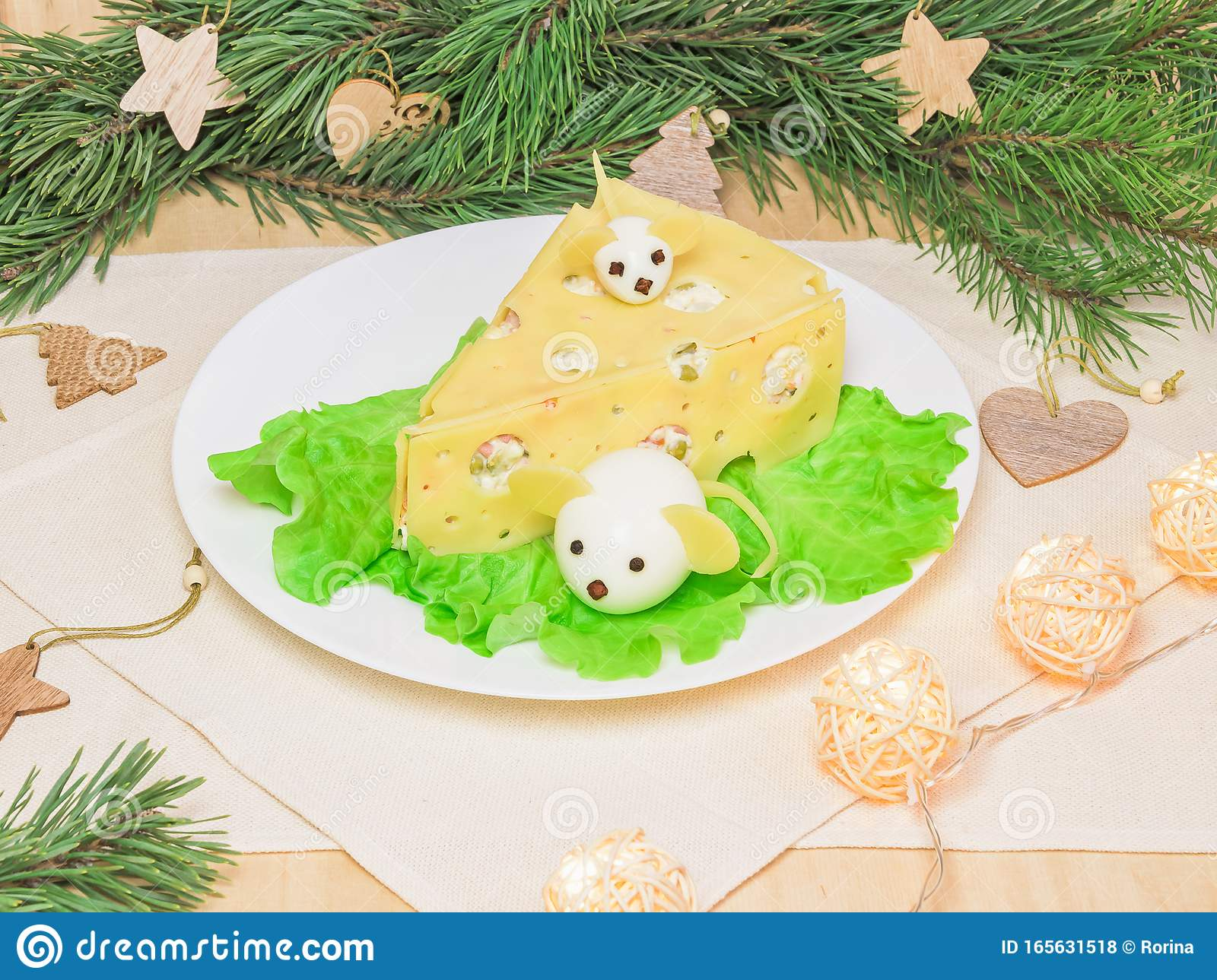 Holiday Christmas Salad Mouse 2020 New Year Cheese Piece Shape