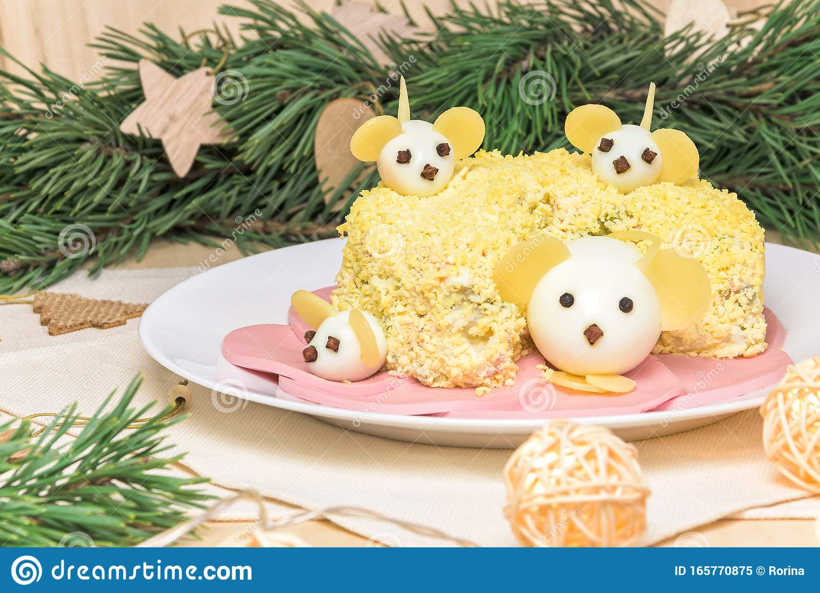 Christmas Salad 2020 Holiday Christmas Salad 2020 New Year Cheese Head Shape With Mouse