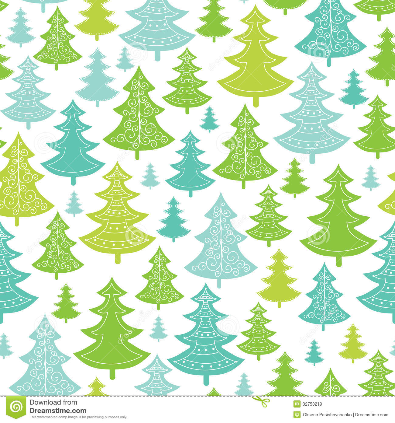 With white christmas background and snow vector vector background - Holiday Christmas Trees Seamless Pattern Royalty Free