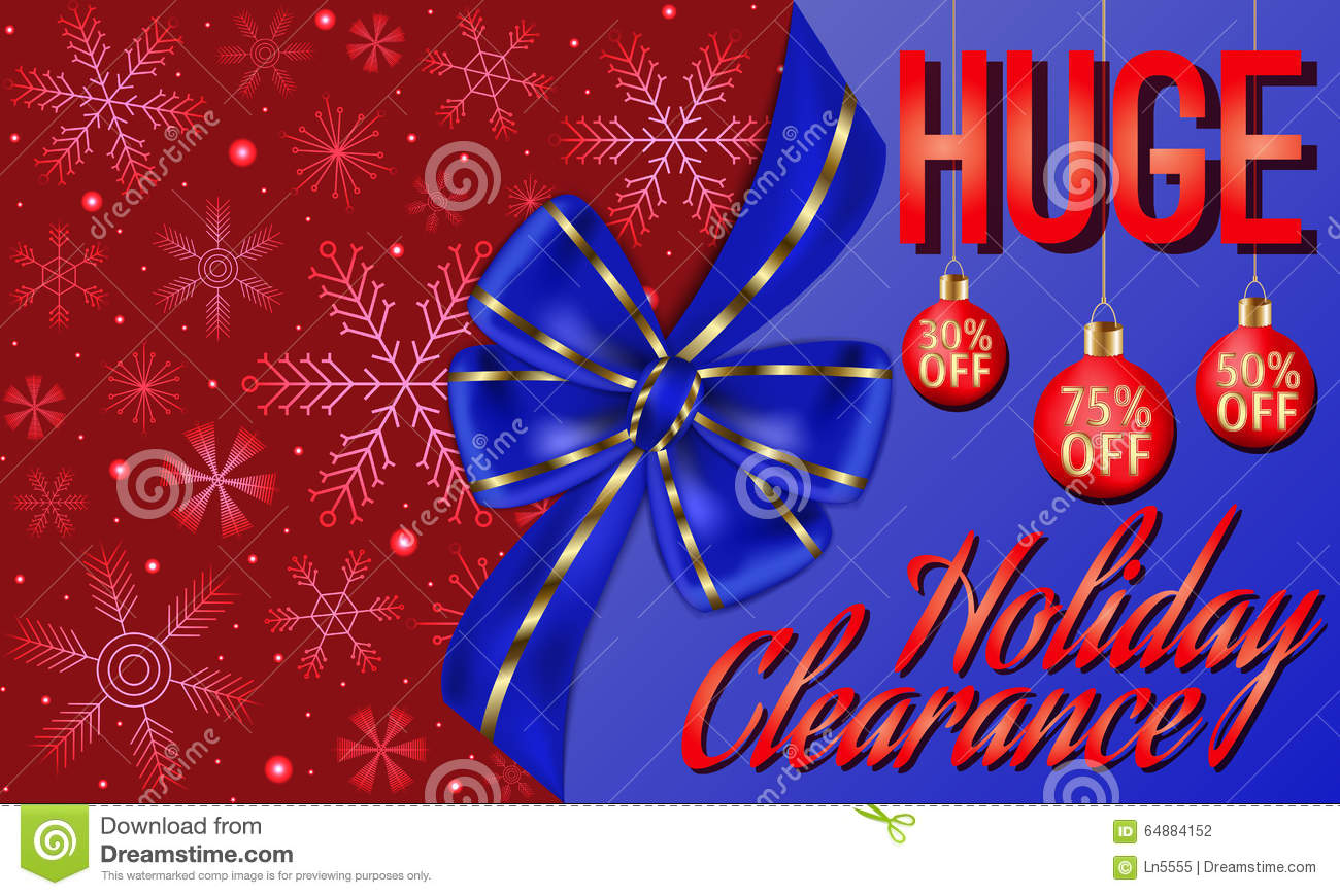 Holiday Clearance Card Decorated With Big Blue Bow, Red Christmas ...