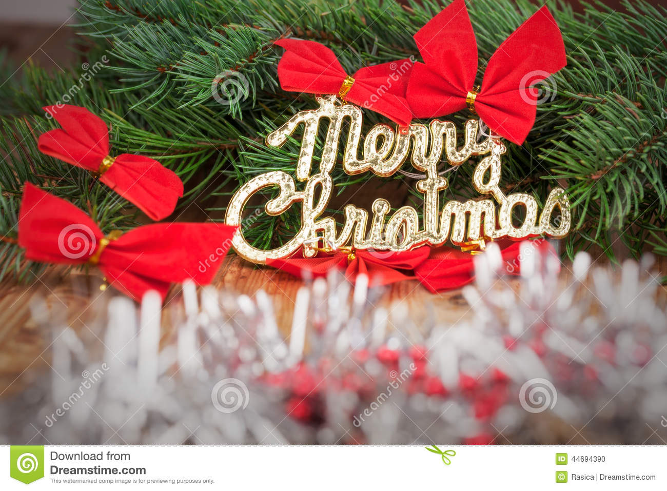 Holiday decoration with a merry christmas stock photo for A text decoration