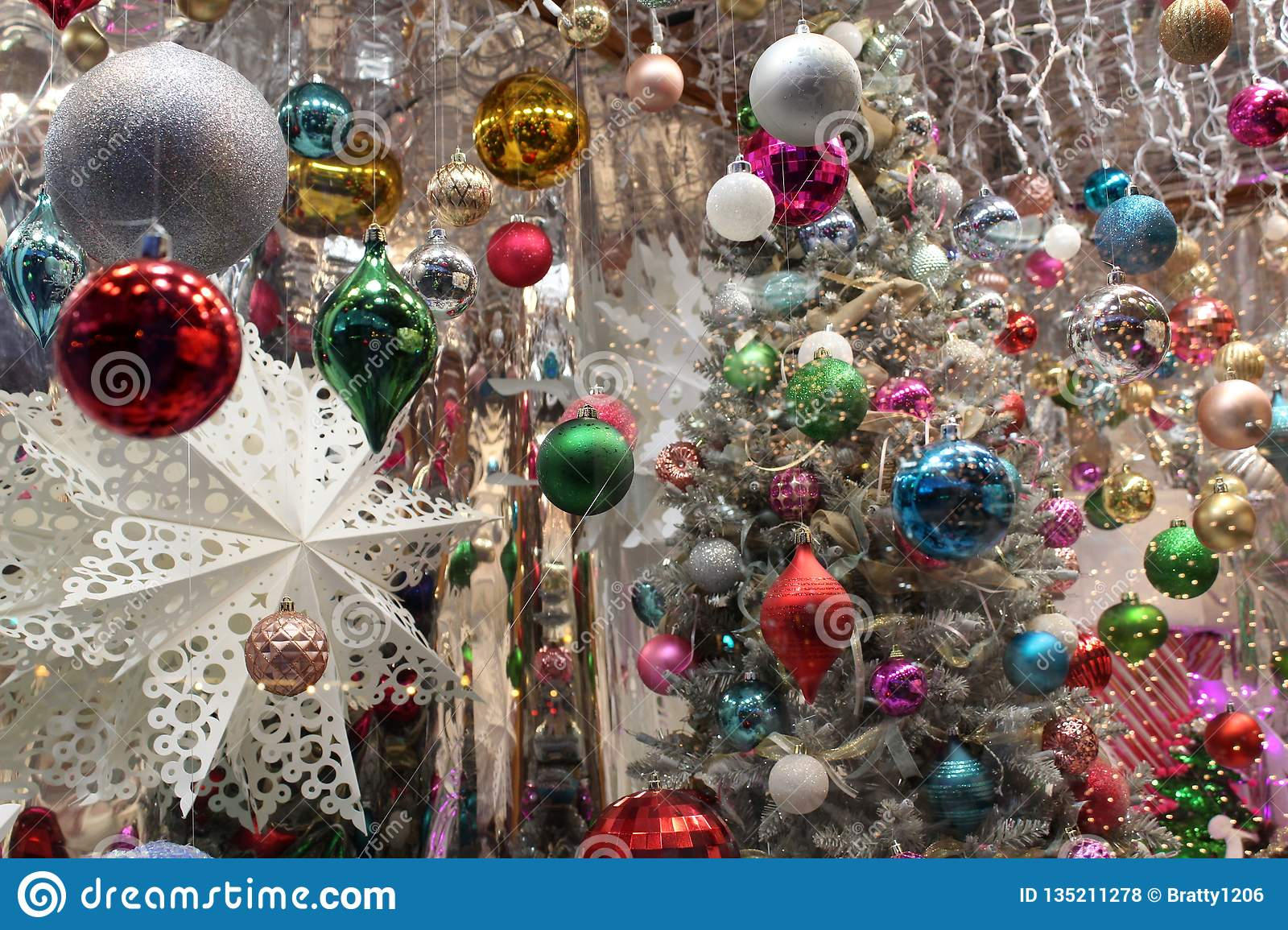 Holiday Decorations In Silver Red Gold Blue Green And White Seen With Twinkling Lights Of Window Stock Photo Image Of Pretty Horizontal 135211278