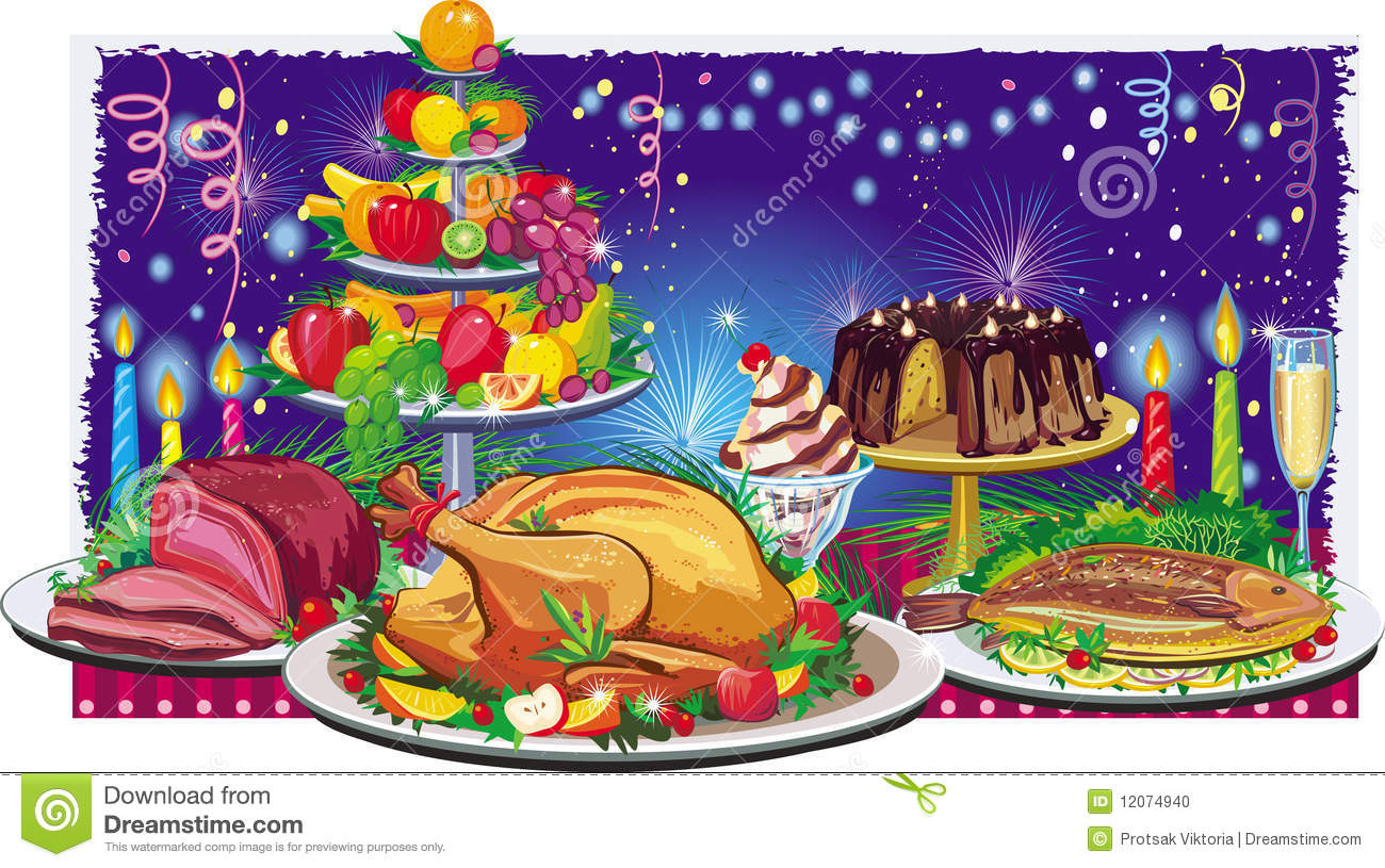 Holiday Dinner Clipart Holiday dinner decorated