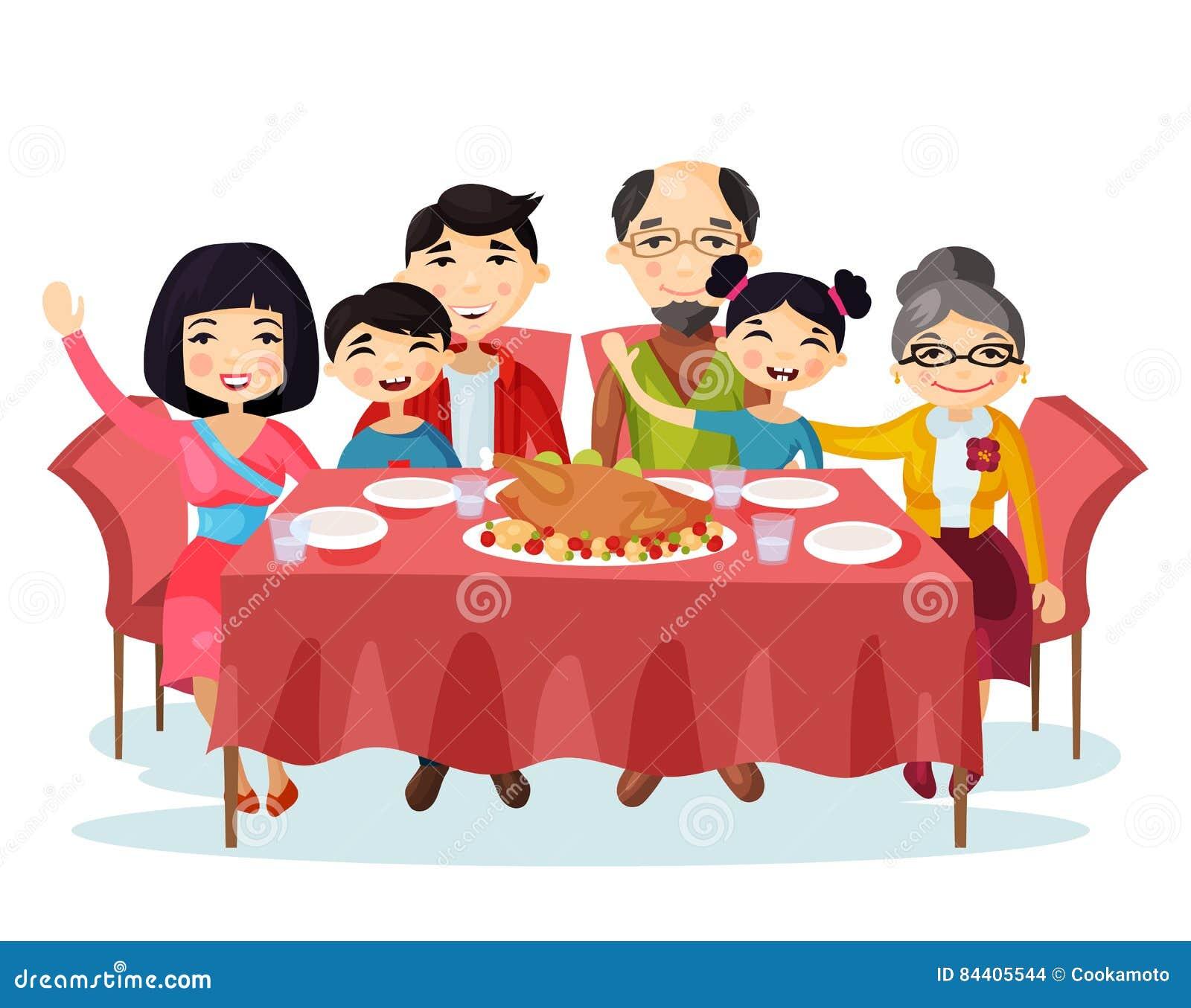 Eating Table Cartoon: Holiday Dinner With Turkey Of Cartoon Family Stock Vector