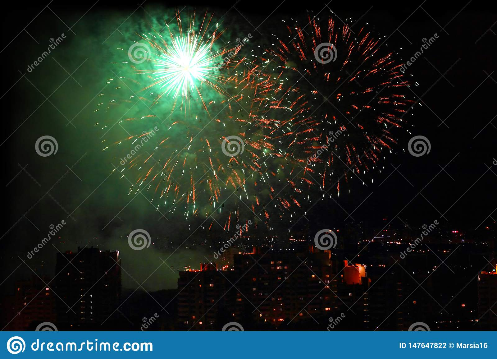 Holiday firework at night sky over city