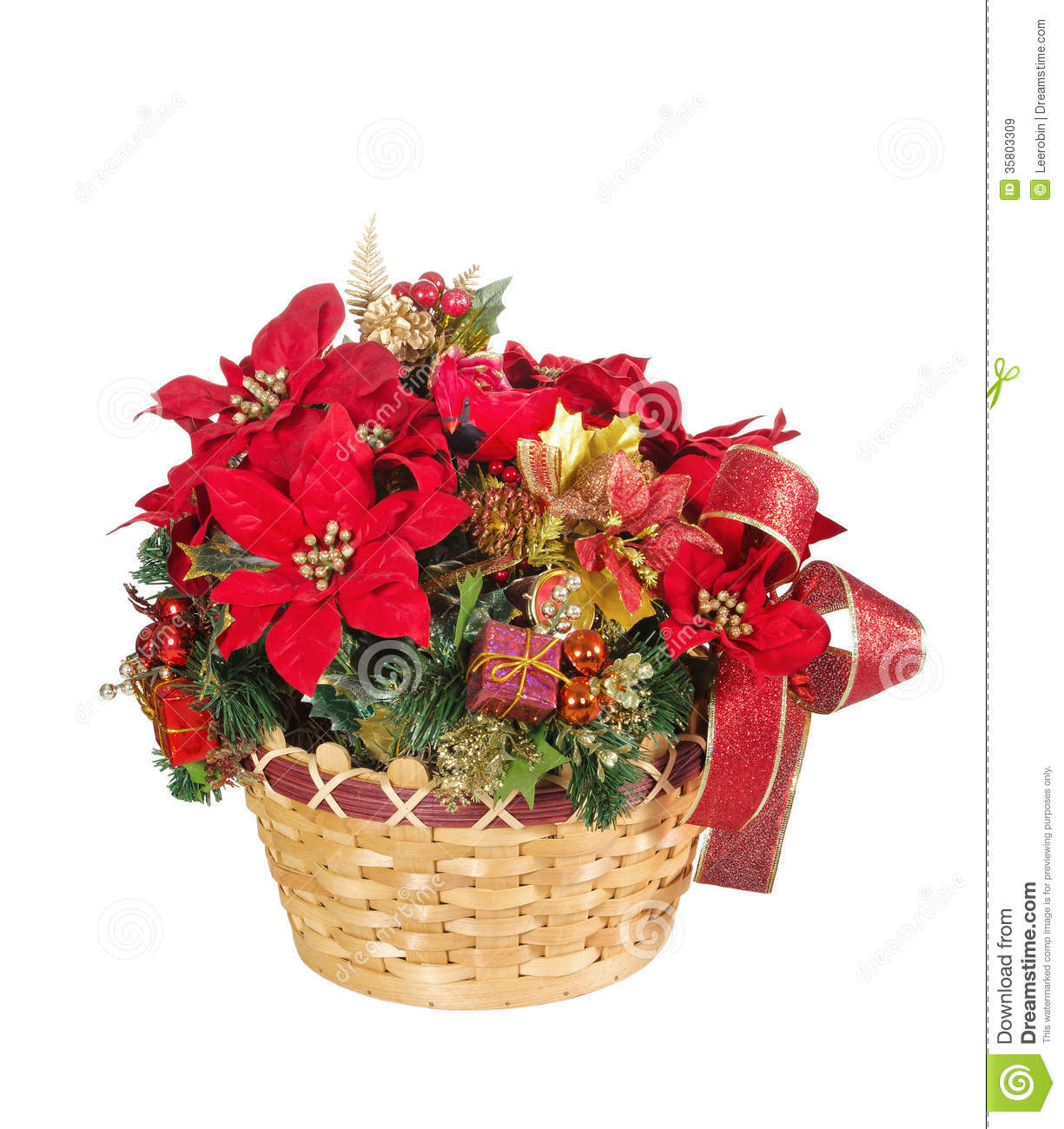Holiday Flower Arrangement Basket Royalty Free Stock