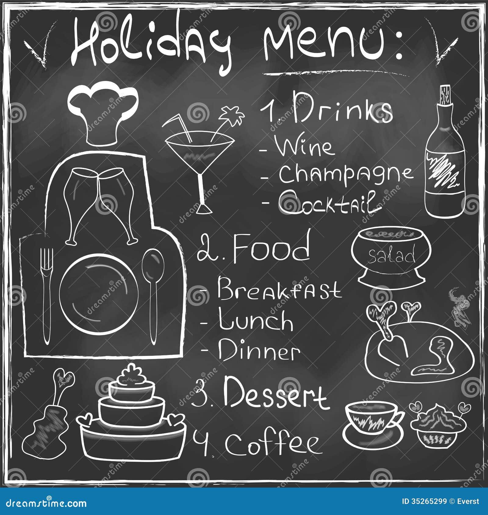 Holiday food menu set hand drawn on chalkboard res stock for Menu de cenas