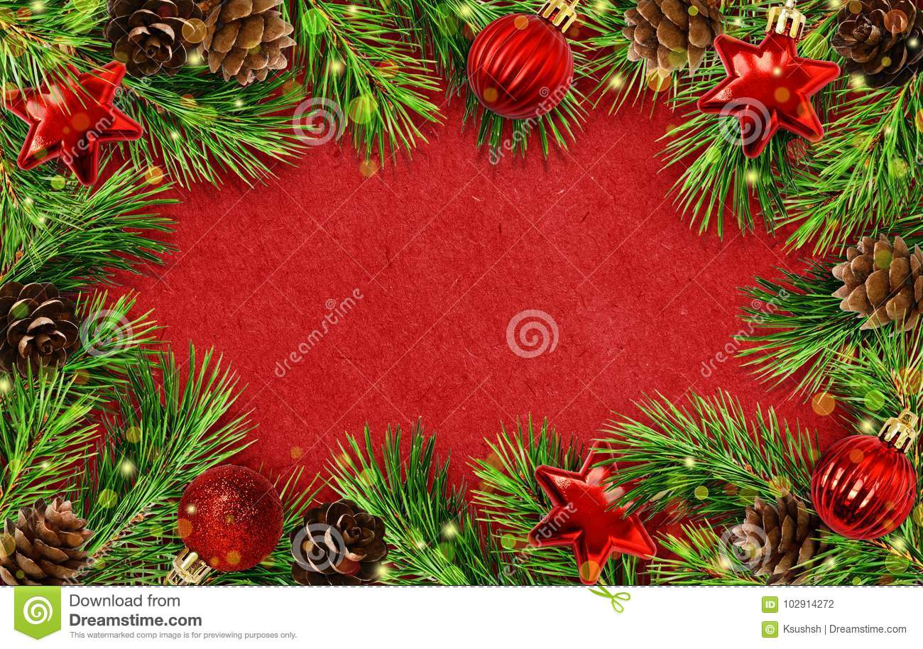 download holiday frame with christmas tree twigs cones balls and lights stock photo
