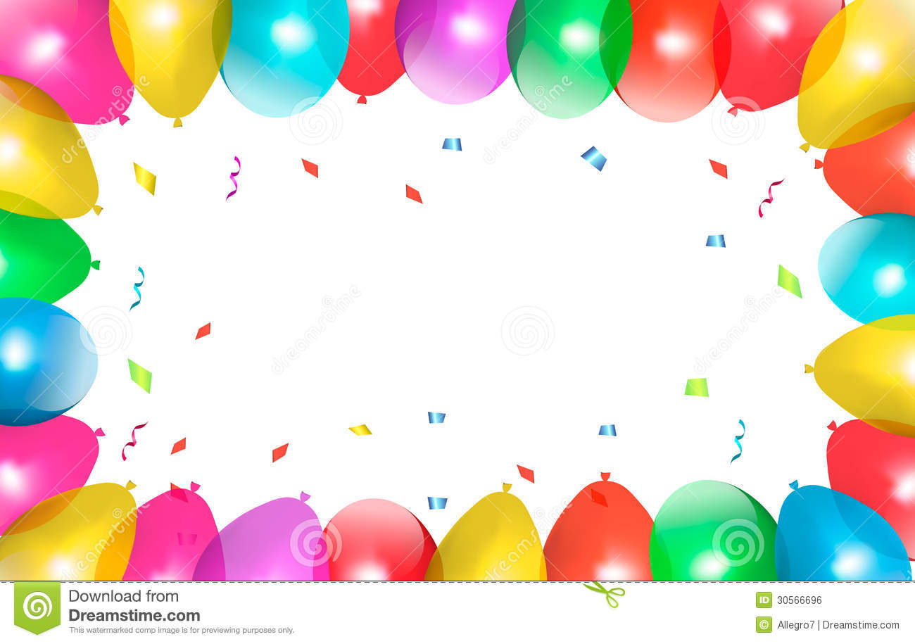 Holiday frame with colorful balloons.
