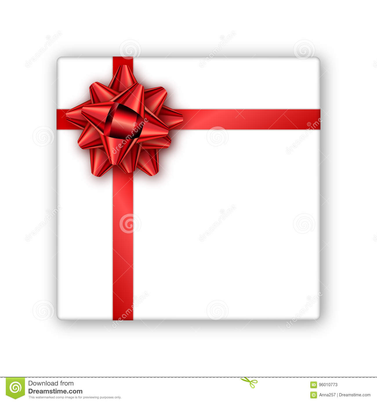 Holiday Gift Box With Red Ribbon And Bow Template For A Busines