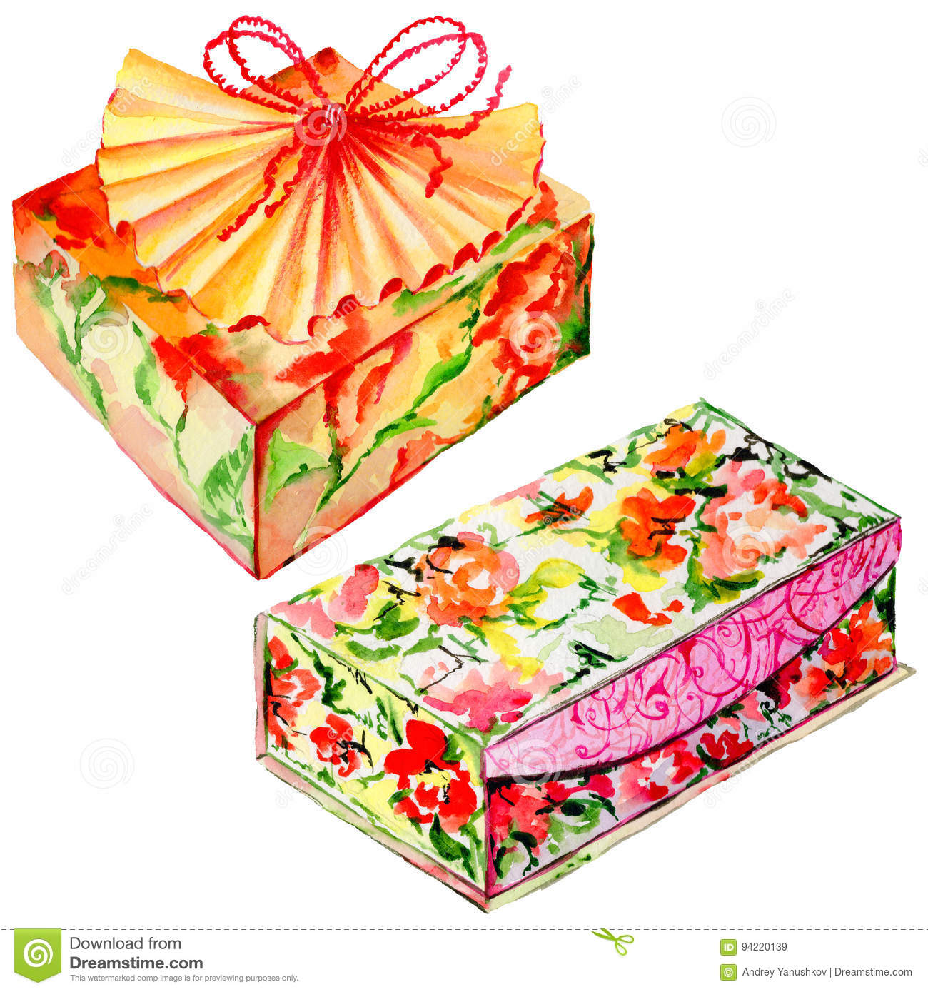 Holiday Gift Boxes Set In A Watercolor Style Isolated Stock