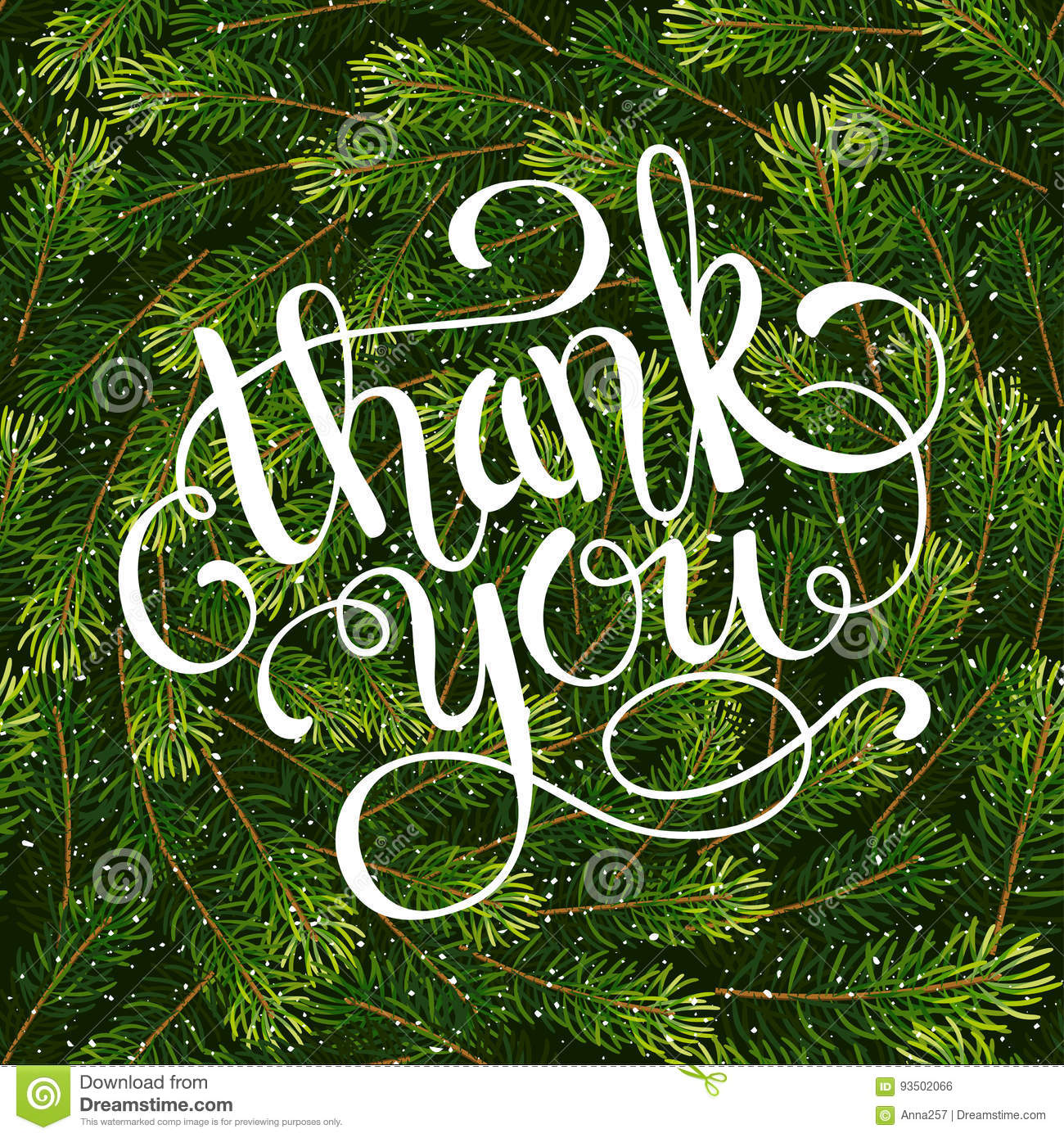 Holiday Gift Card With Hand Lettering Thank You On Christmas Fir