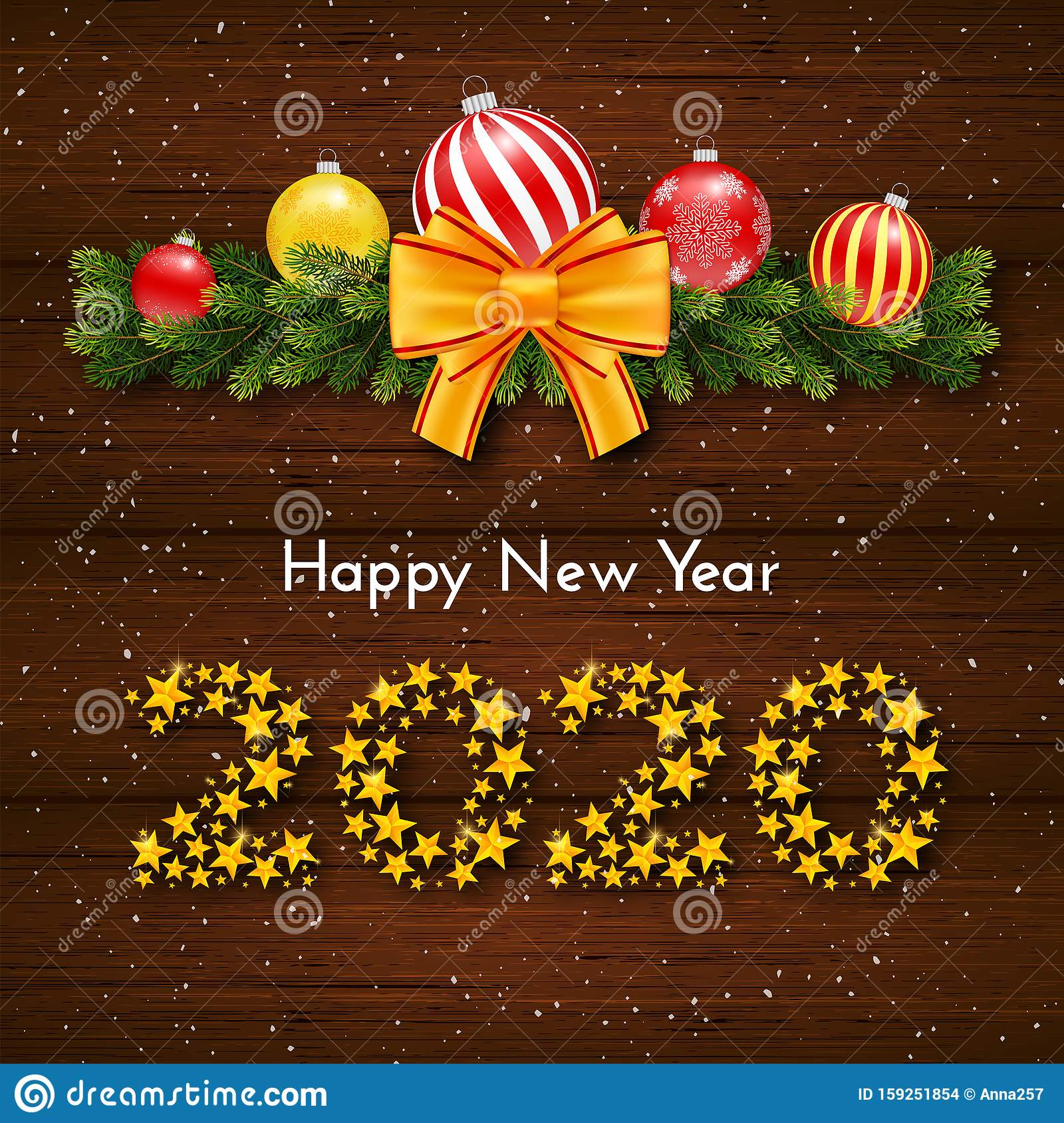 Holiday Gift Card Happy New Year 2020 Vector Stock