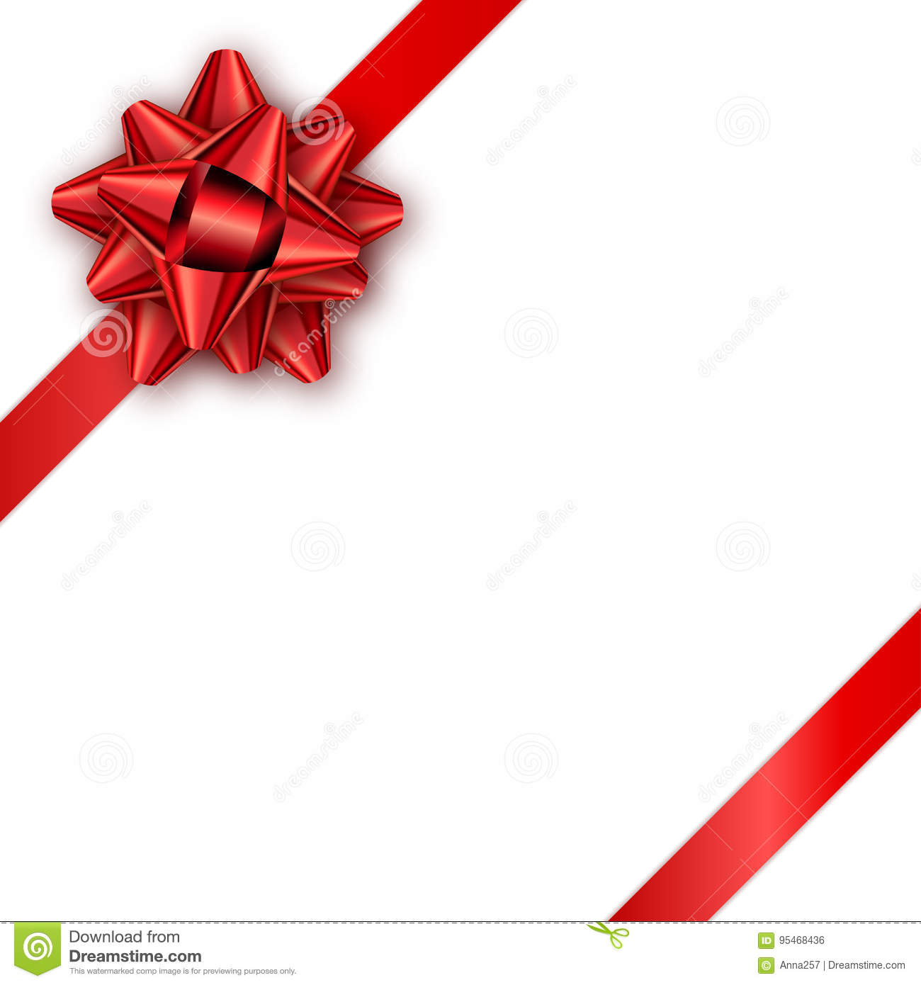 Holiday gift card with red ribbon and bow template for a busine royalty free vector stopboris
