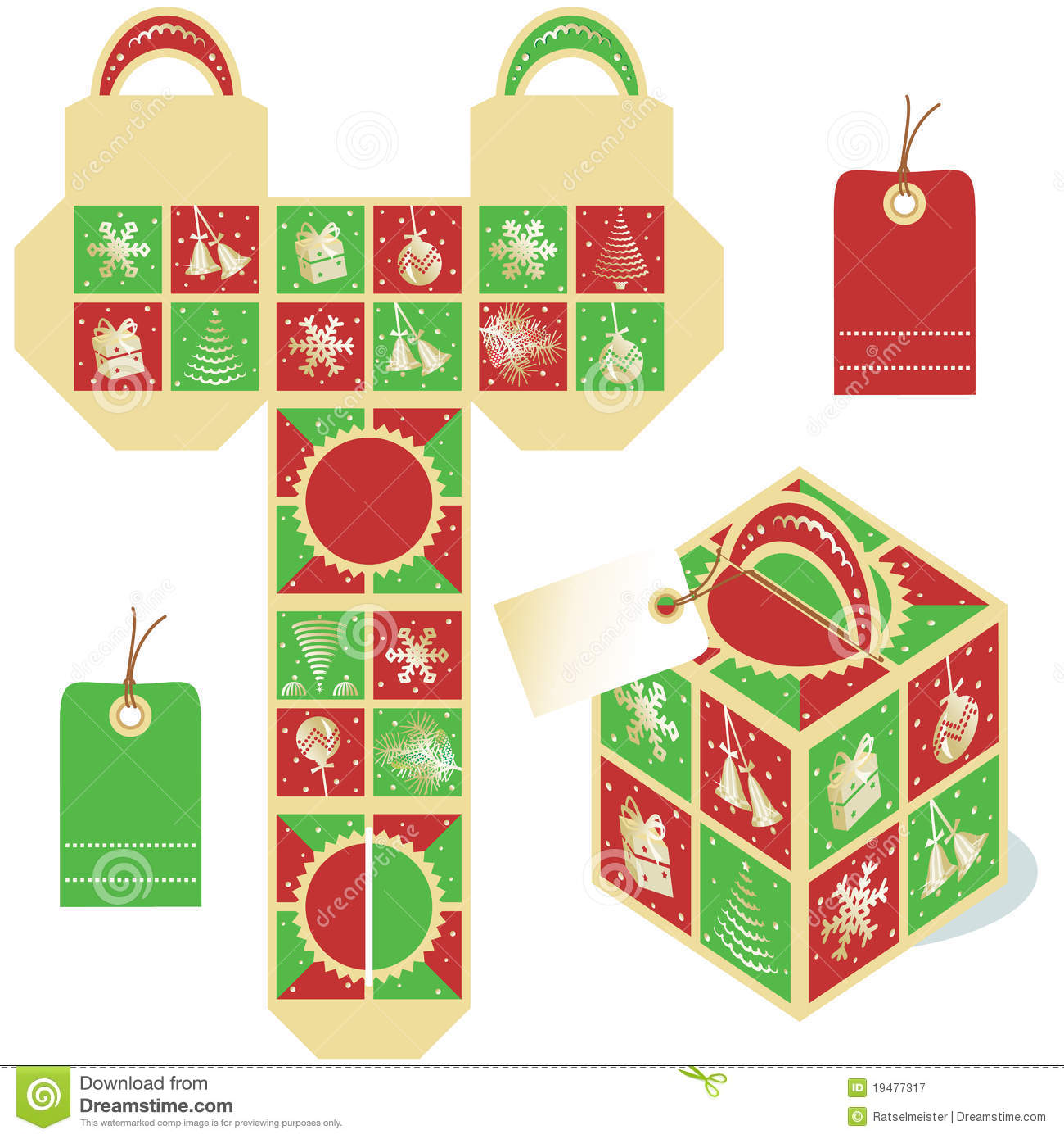 holiday gift packaging template stock vector