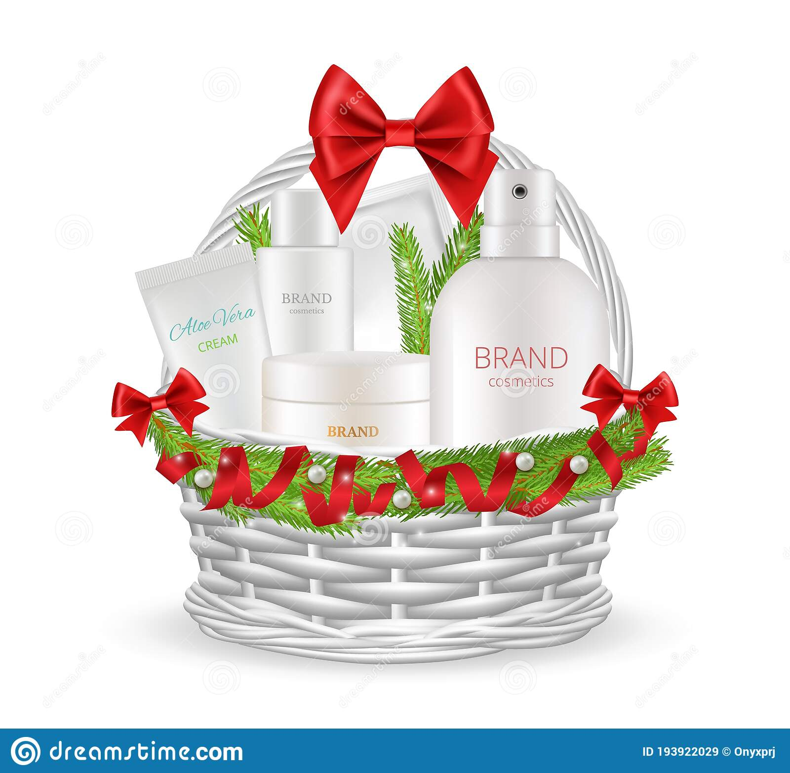 Holiday Gift Realistic Christmas Basket With Different Cosmetics Bottles Skin Care Products In New Year Packaging Stock Vector Illustration Of Female Care 193922029