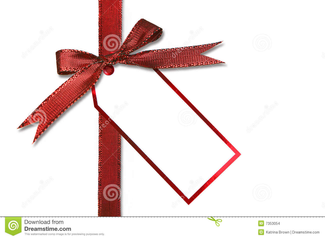 Holiday Gift Tag And Bow Stock Images Image 7353054