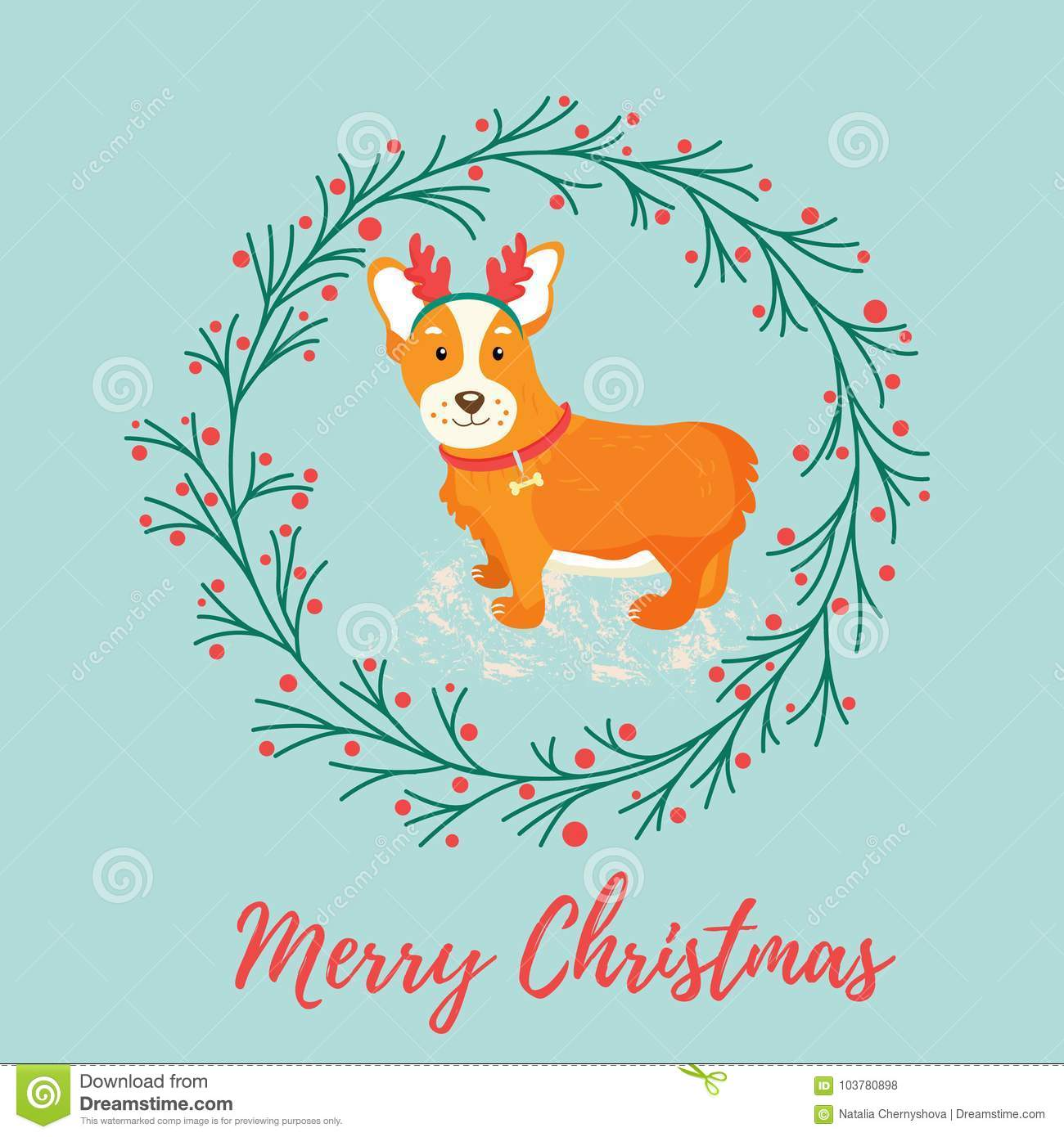 Holiday Greeting Card With Cute Corgi Dog Stock Vector