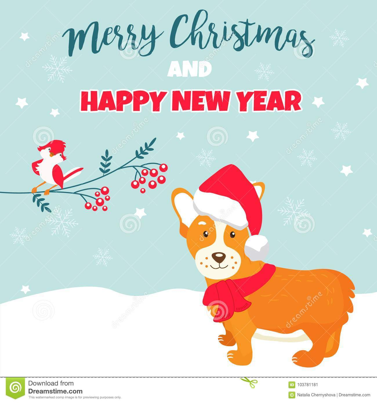 Holiday greeting card with cute corgi dog stock vector download holiday greeting card with cute corgi dog stock vector illustration of happy friendly m4hsunfo