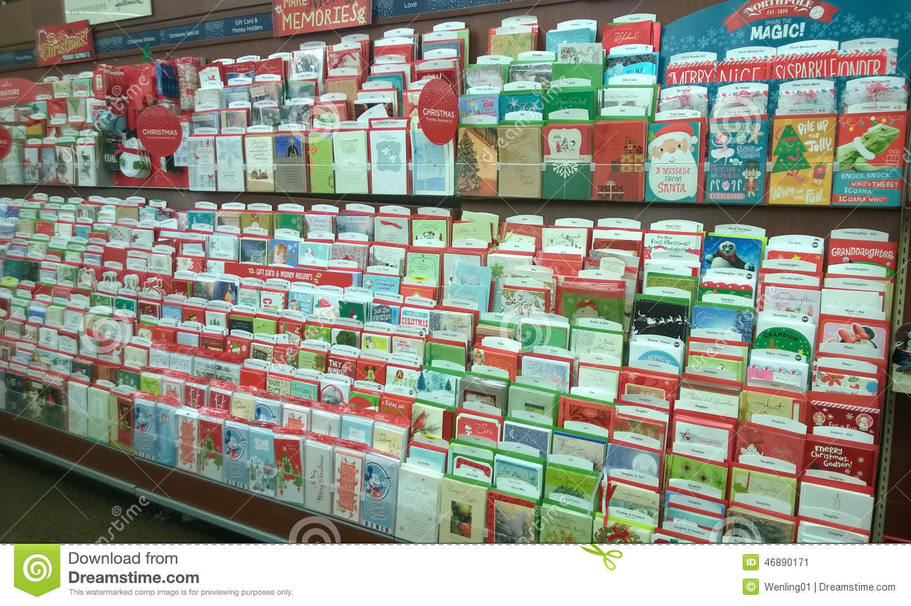 Holiday Greeting Cards Selling At Supermarket Editorial Photo