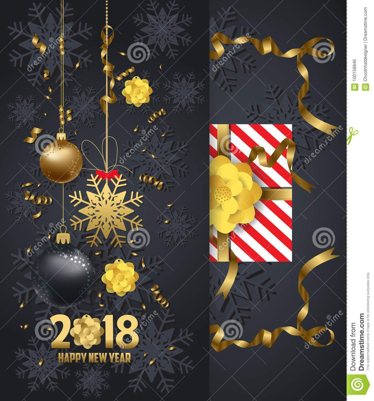 holiday greeting and happy new year 2018 card with gold balls