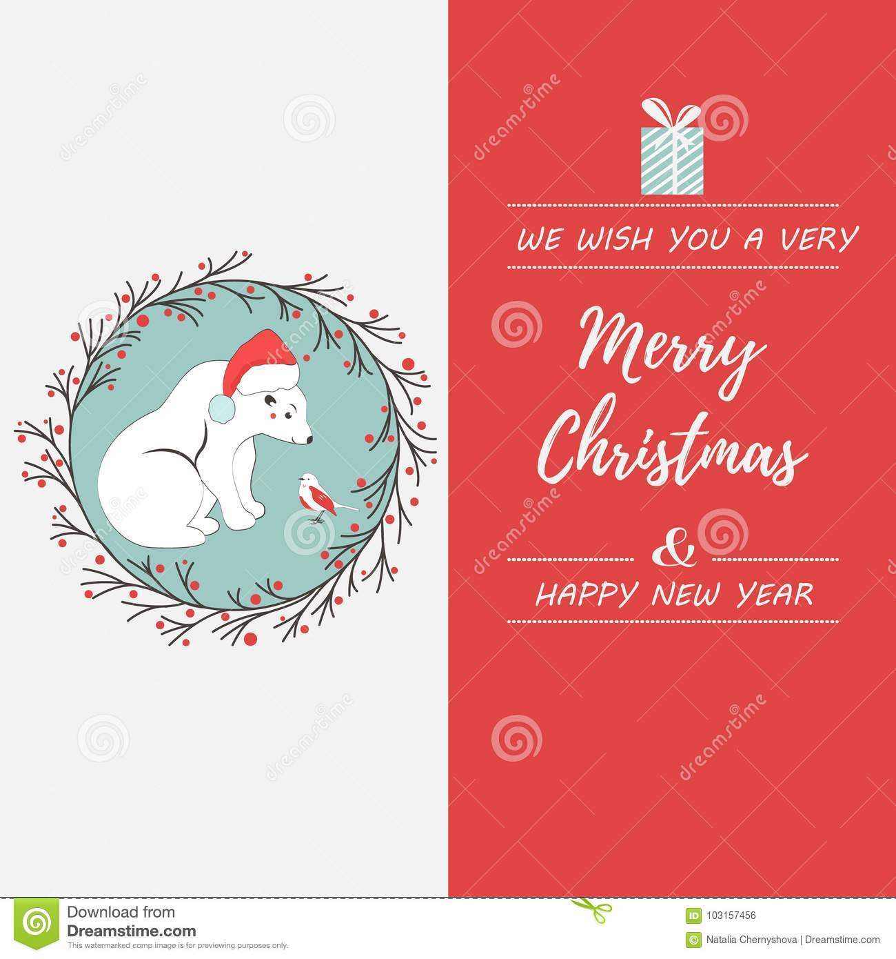 Holiday Greeting Postcard With Polar Bear And Bird Stock Vector
