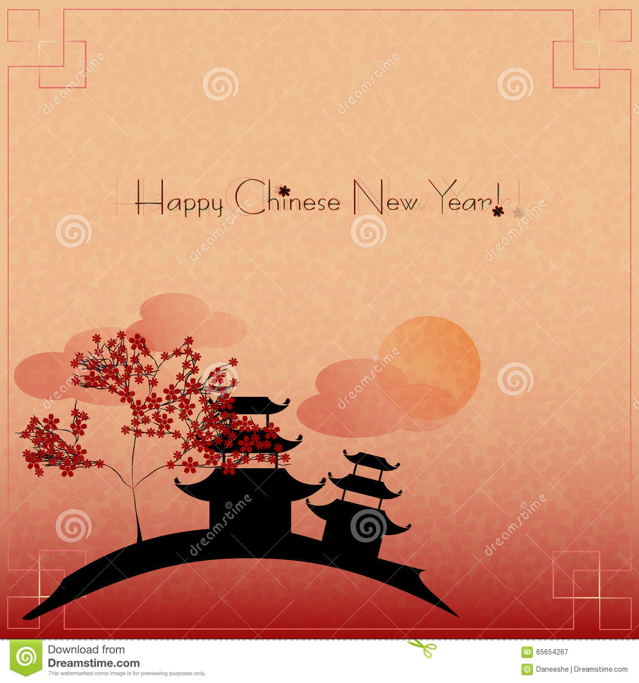Holiday Greeting Postcard To Chinese New Year Stock Vector