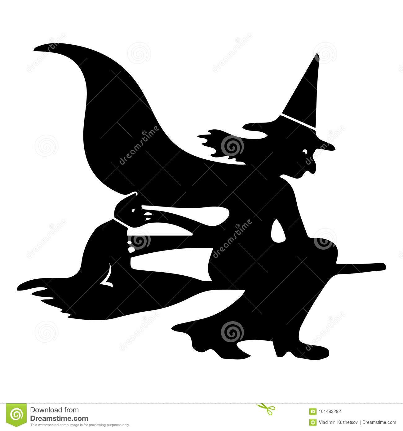 holiday halloween witch on a broom silhouette on a white stock