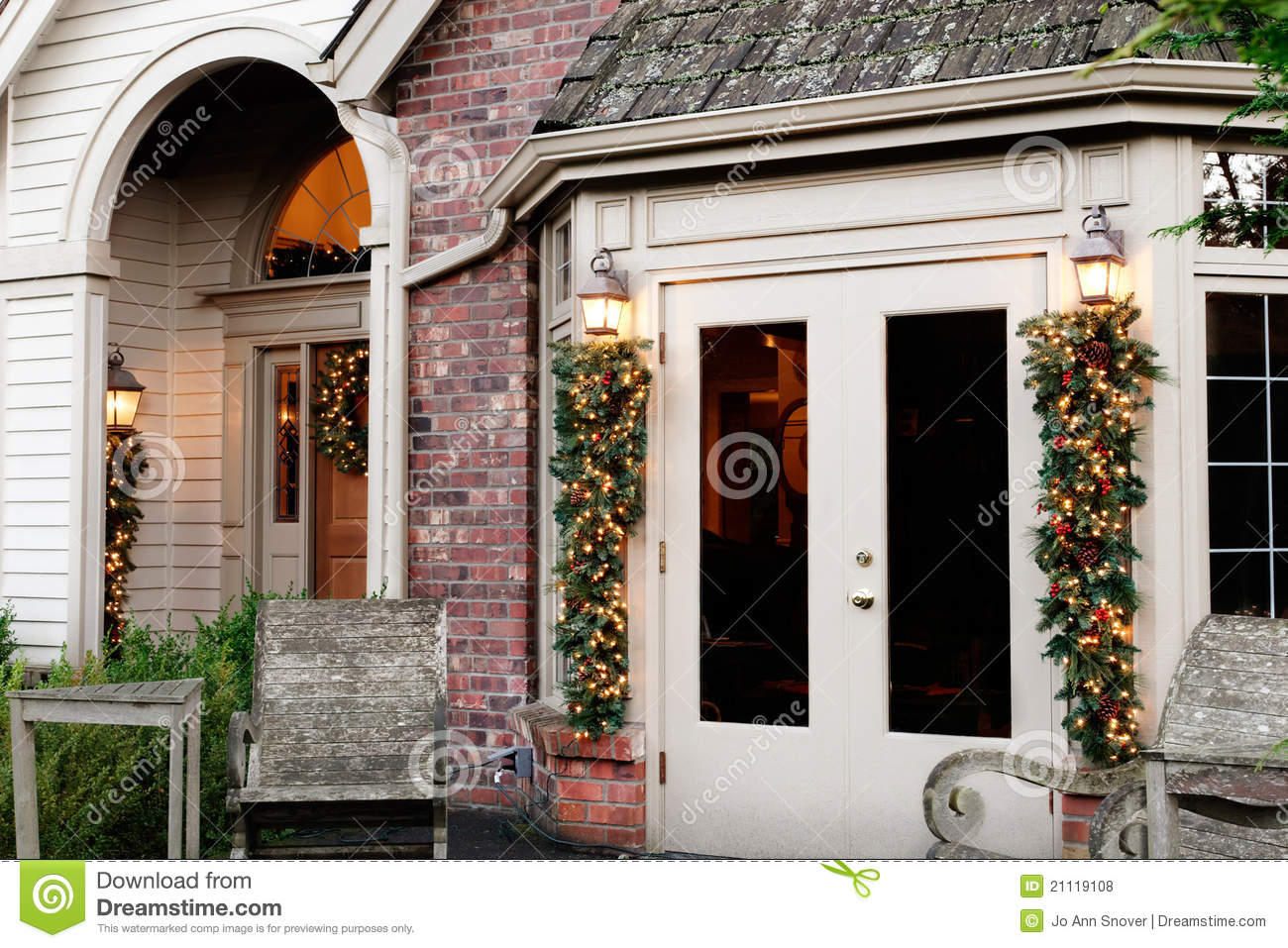 Holiday home exterior decorations royalty free stock - Christmas decorating exterior house ...