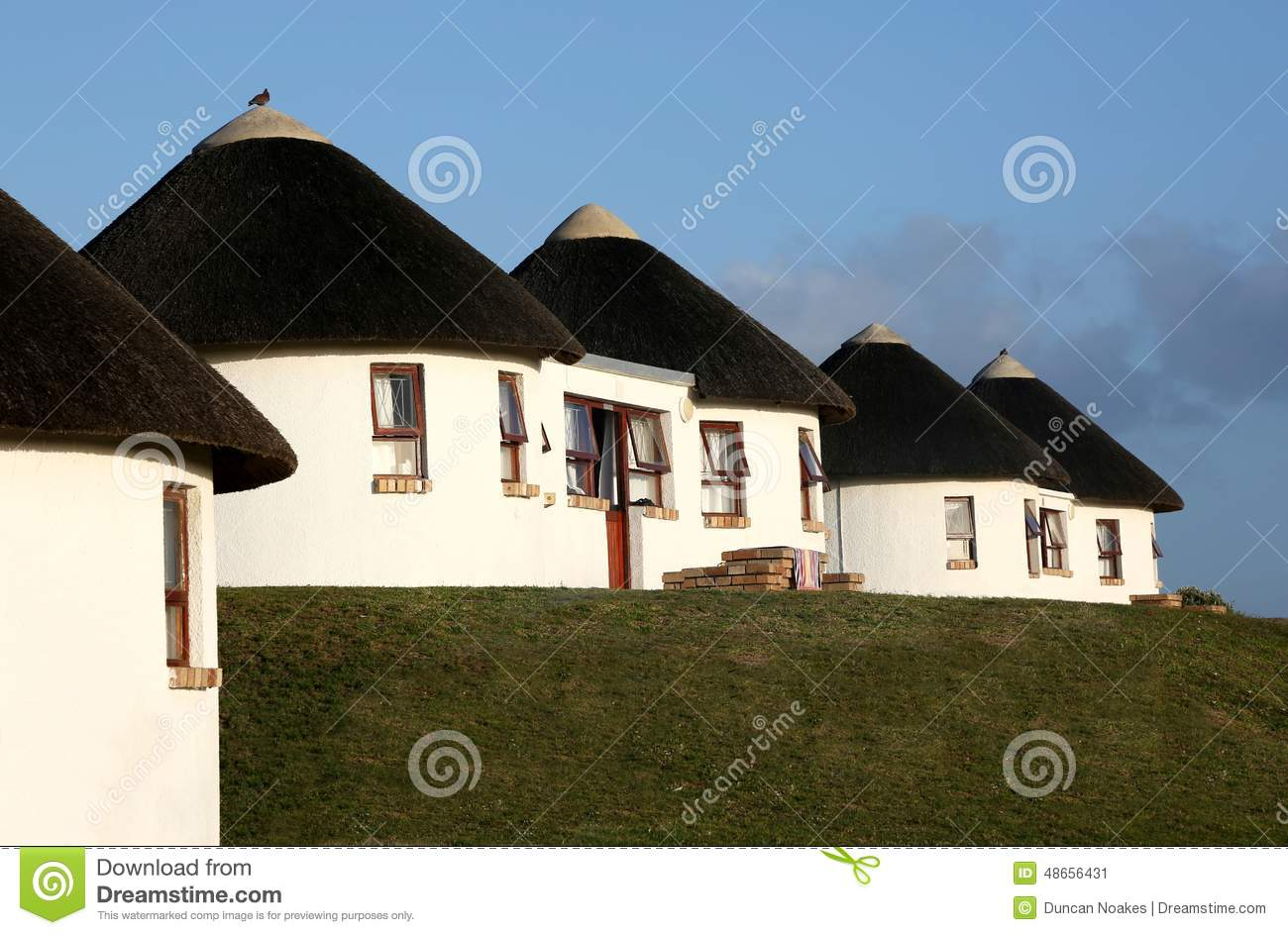 holiday houses with thatched roof stock image image