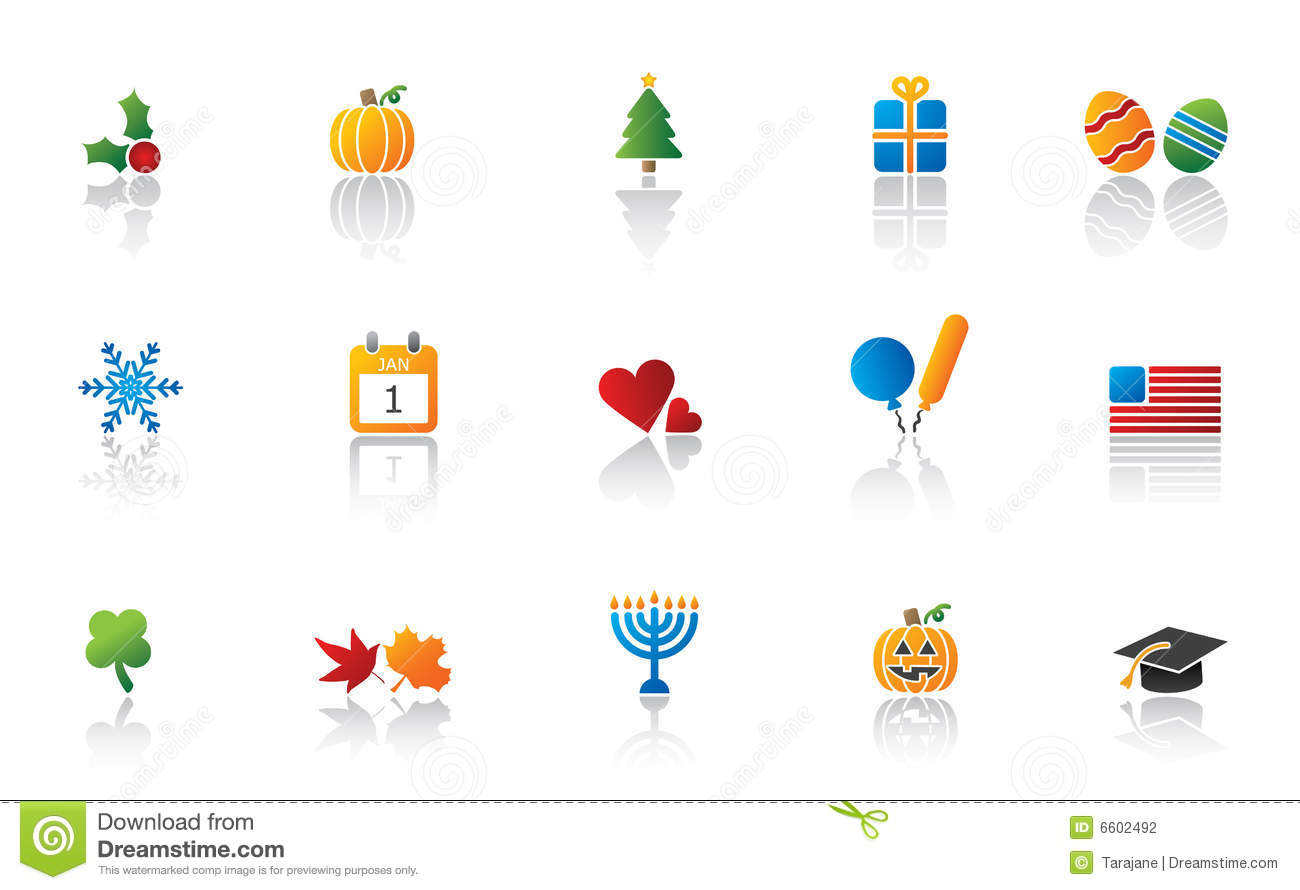 Holiday Icon Set Stock Vector Illustration Of Calendar