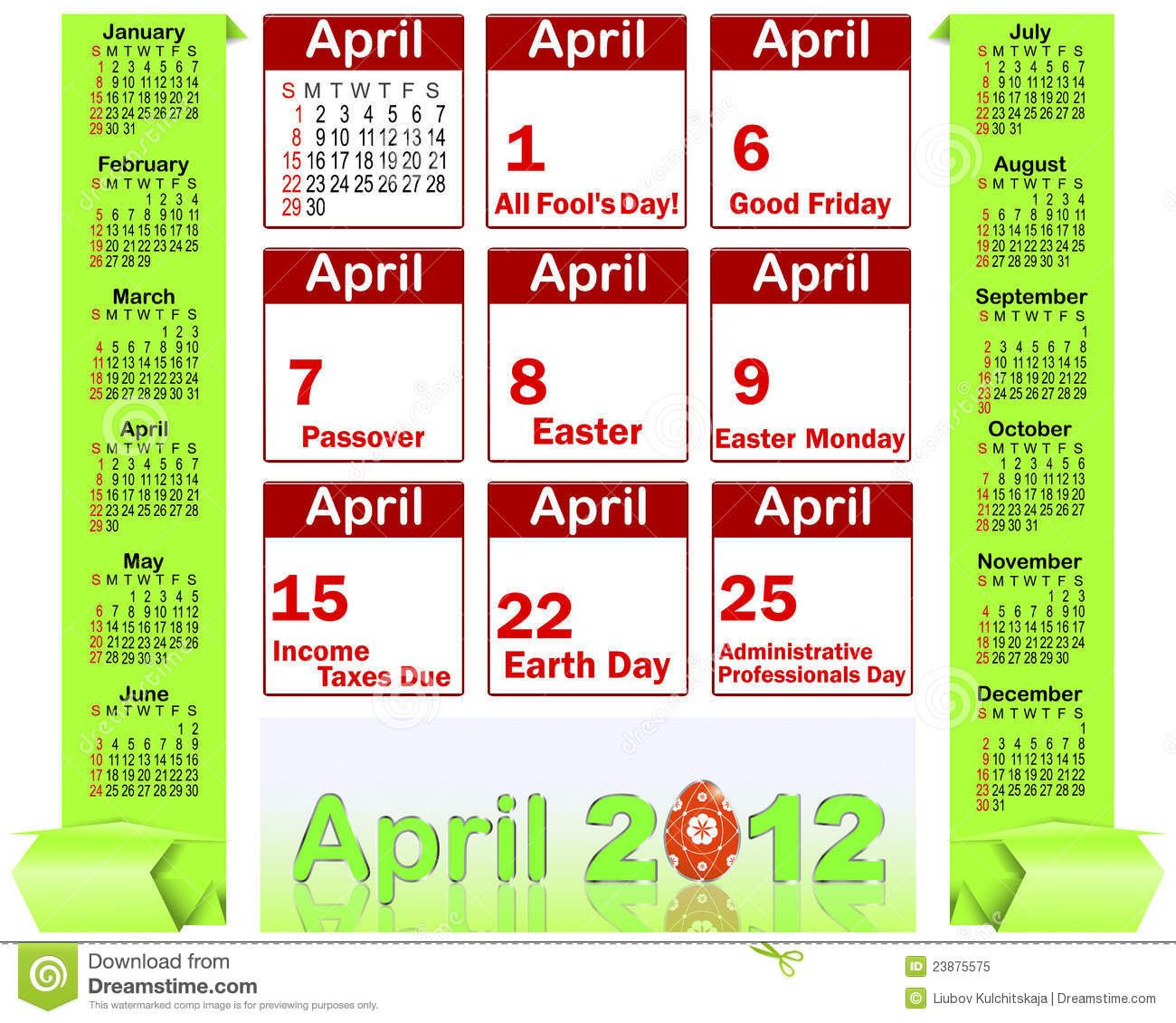 Holiday icons calendars for April 2012.