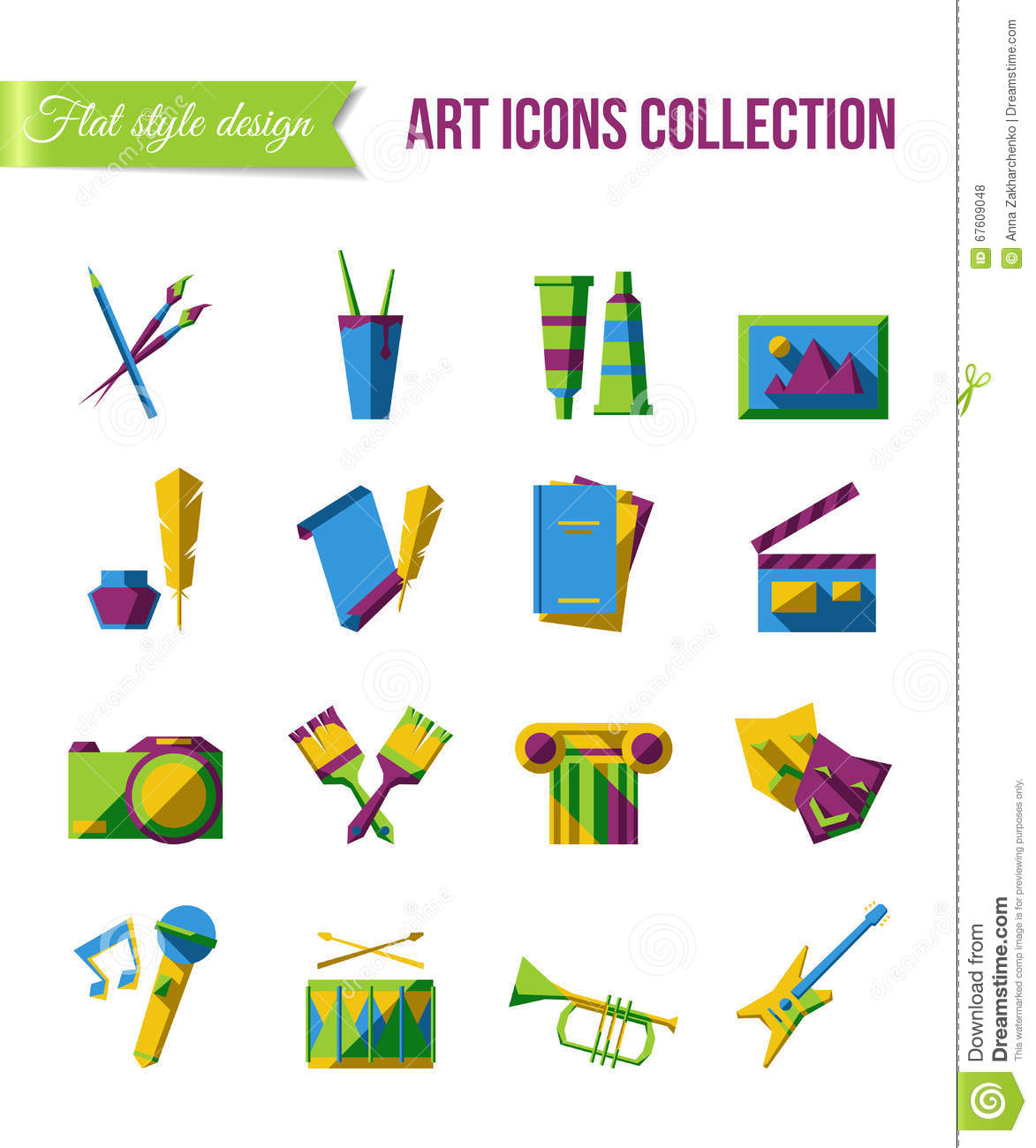 Holiday Icons Set Of Art Theater And Music Flat Icons With Scene