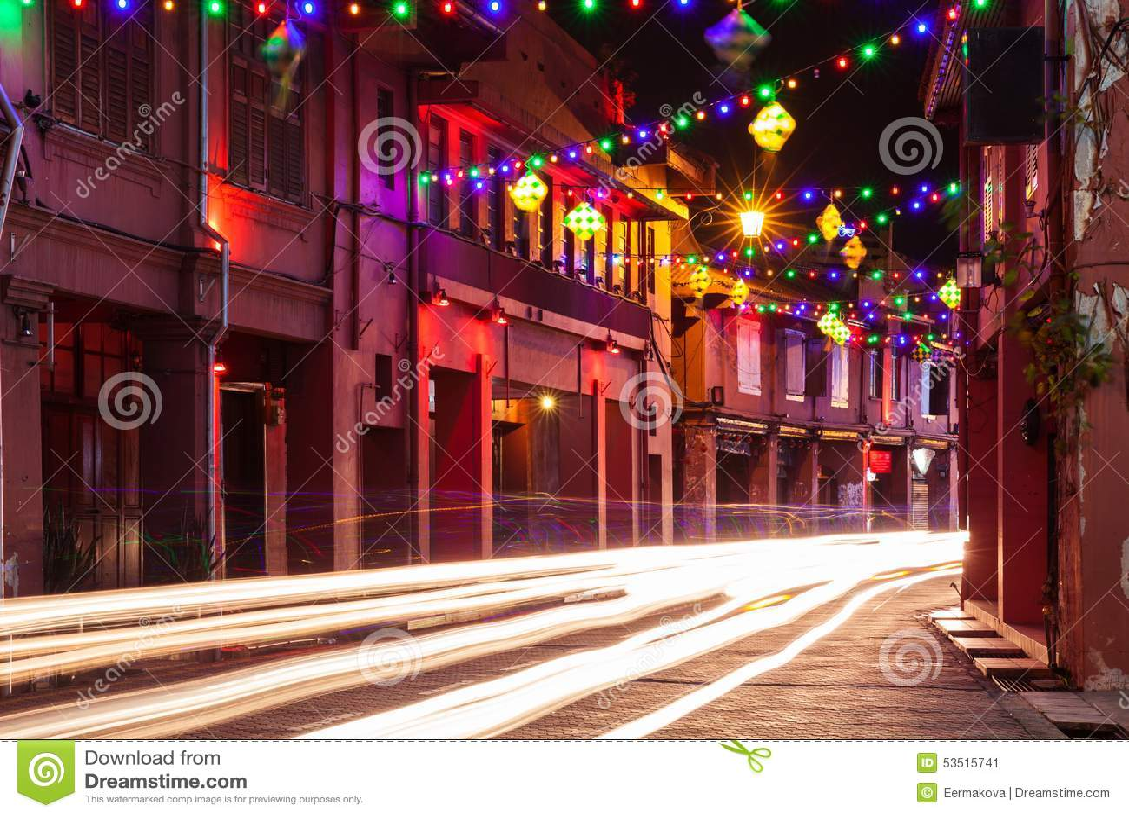 Holiday illumination on the street of Malacca, Malaysia